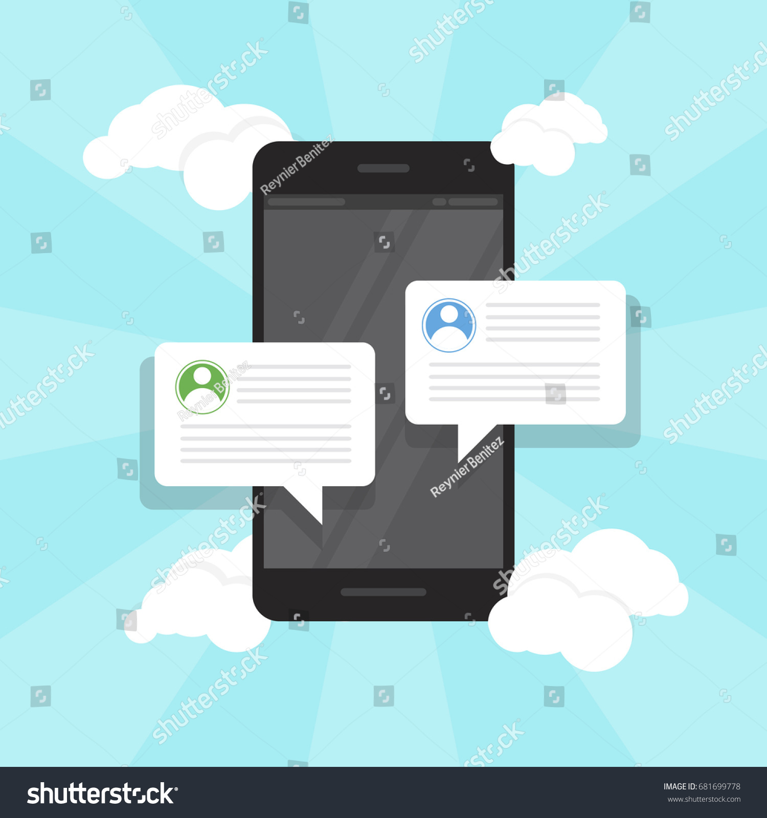 Text Messaging Flat Concept Vector Illustration Stock Vector ...