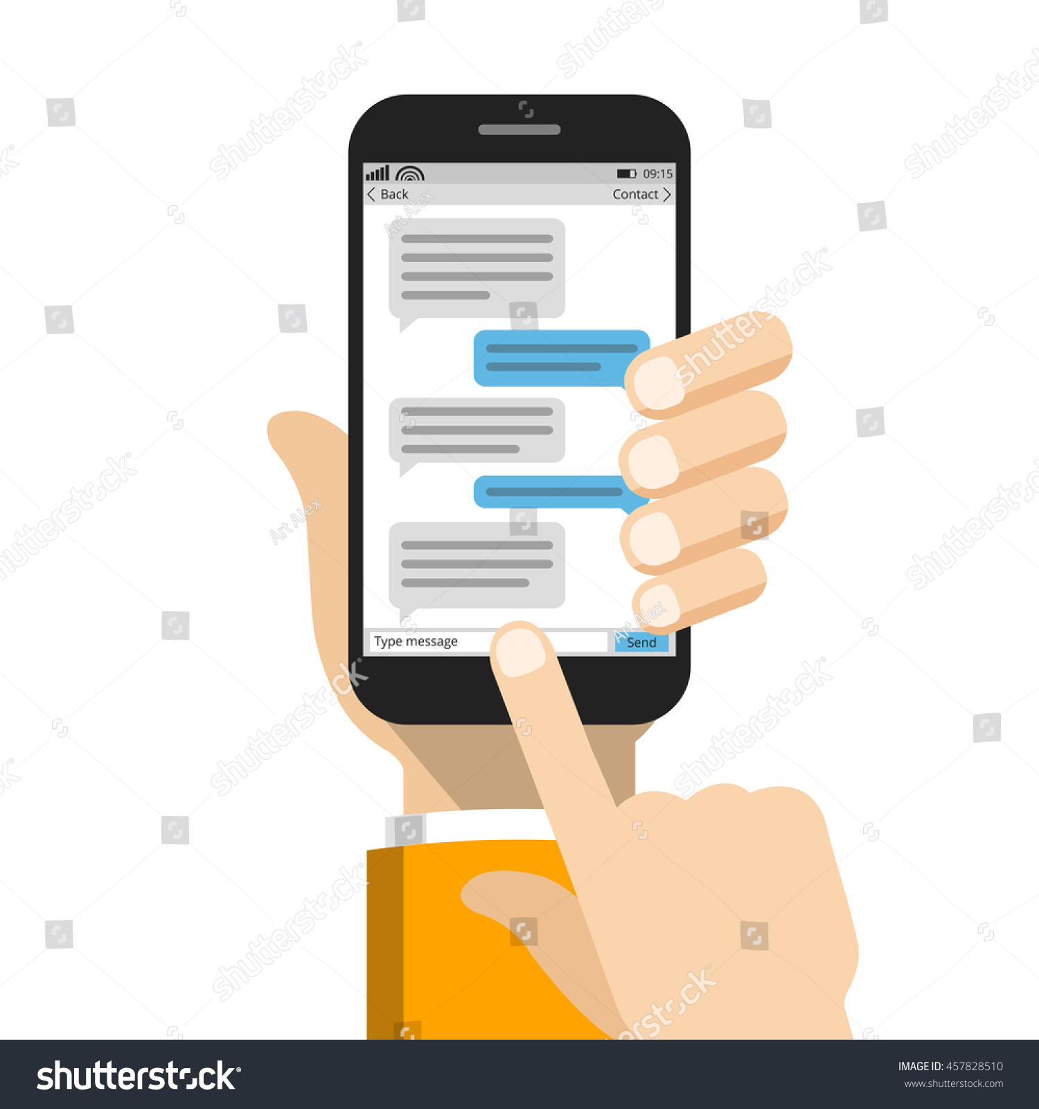 Text Messaging Concept On Screen Smartphone Stock Vector 457828510 ...