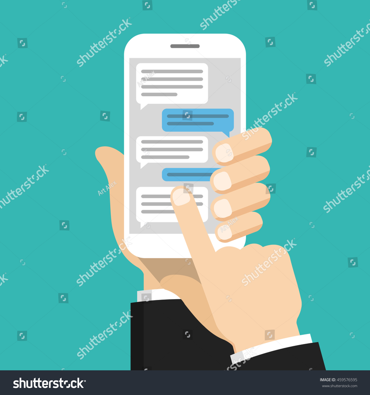Text Messaging Concept On Screen Smartphone Stock Vector 459576595 ...