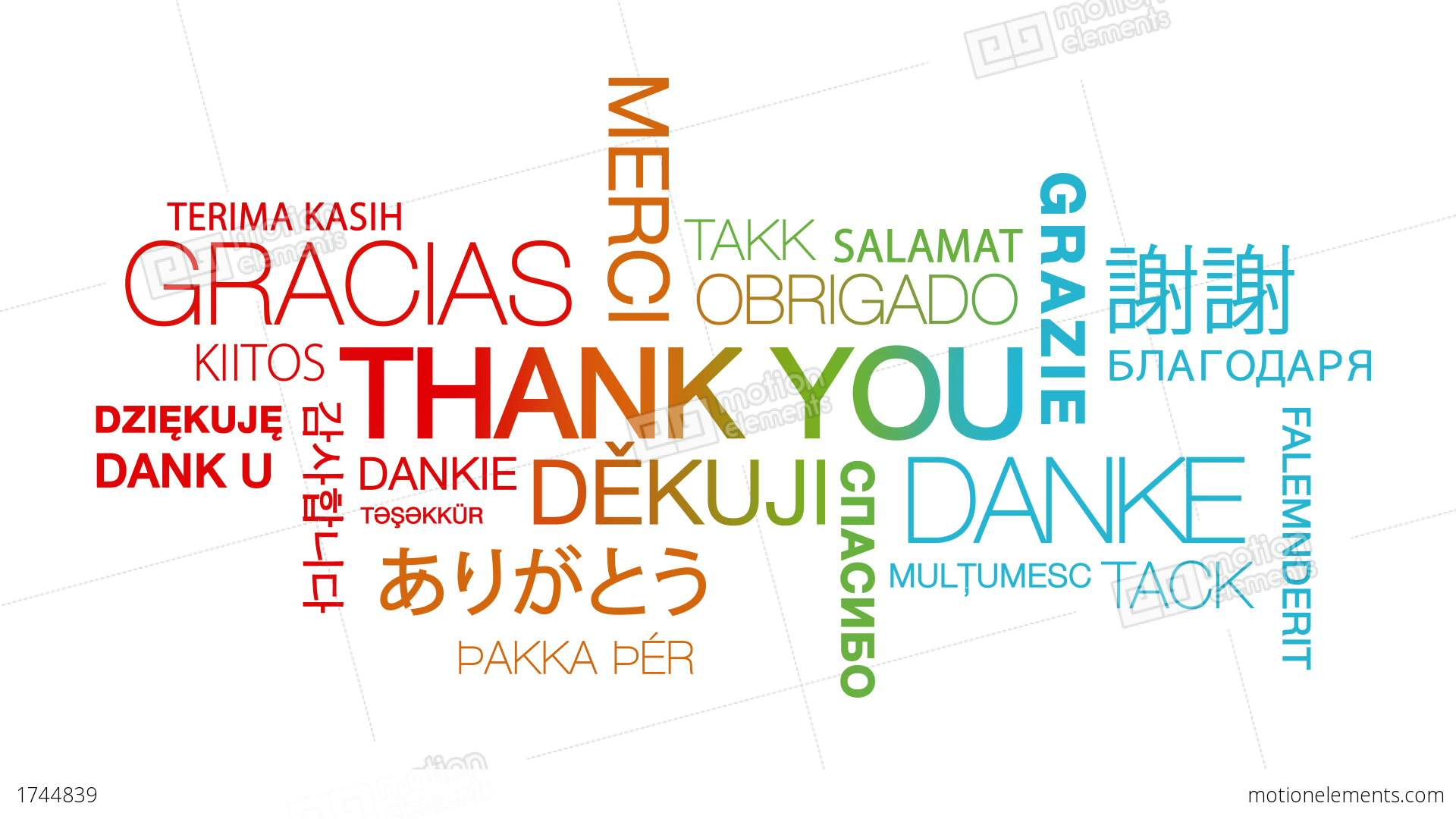 Thank You In Different Languages Stock Animation | 1744839