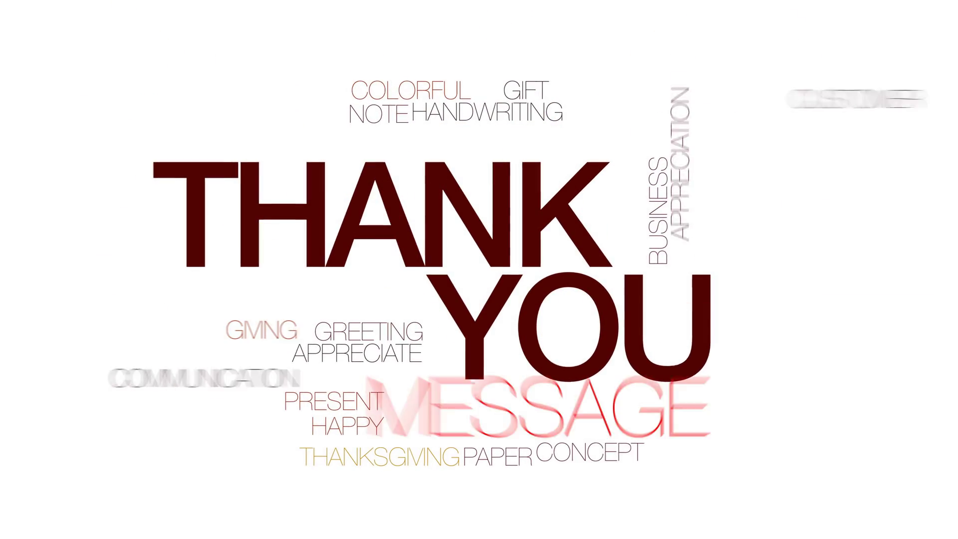 Thank you animated word cloud, text design animation. Kinetic ...