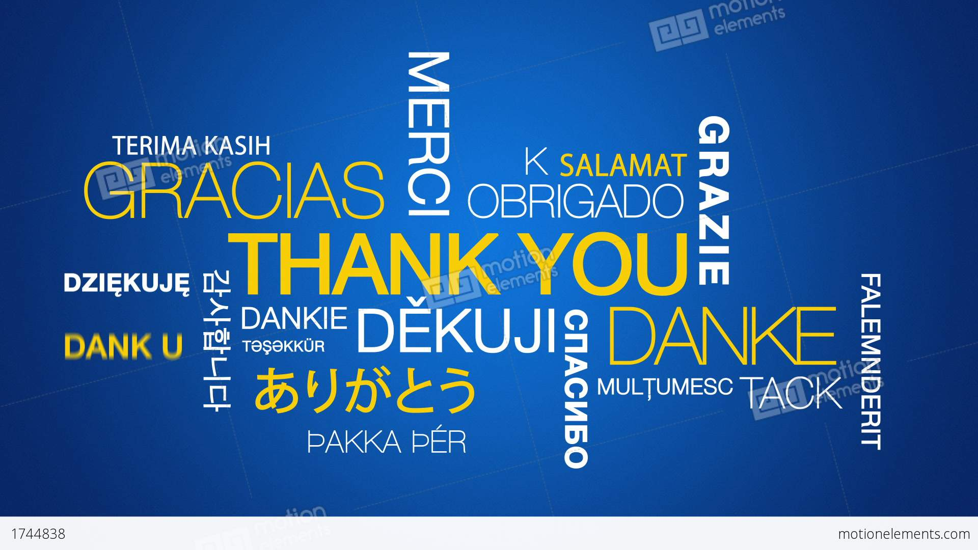 Thank You In Different Languages Stock Animation | 1744838