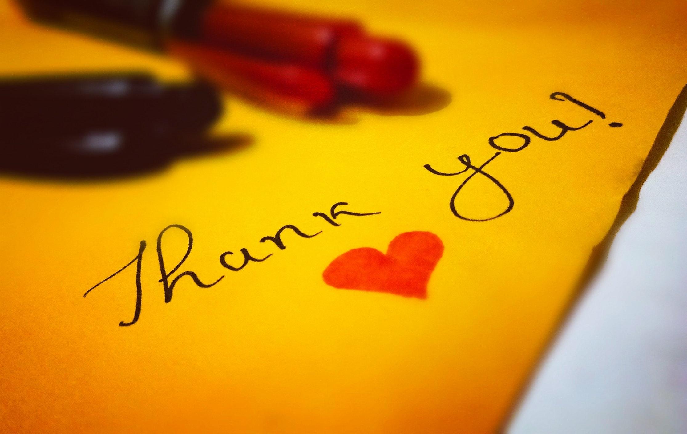 Thank You! Heart Text, Art, Blur, Card, Close-up, HQ Photo