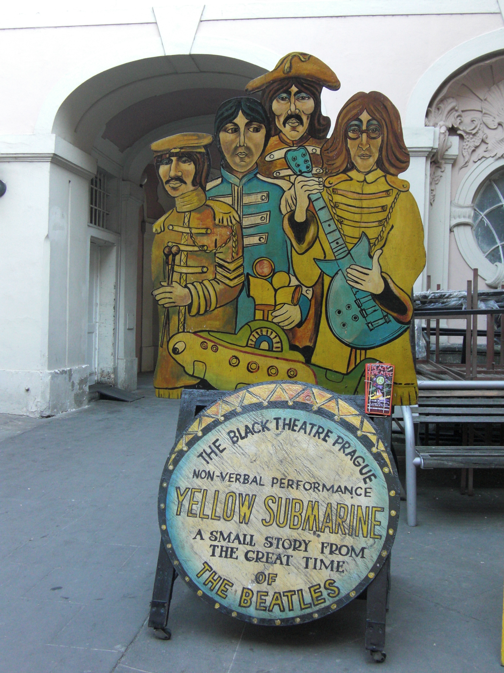 The Beatles Black Theater, Theater, Sign, Prague, Black, HQ Photo
