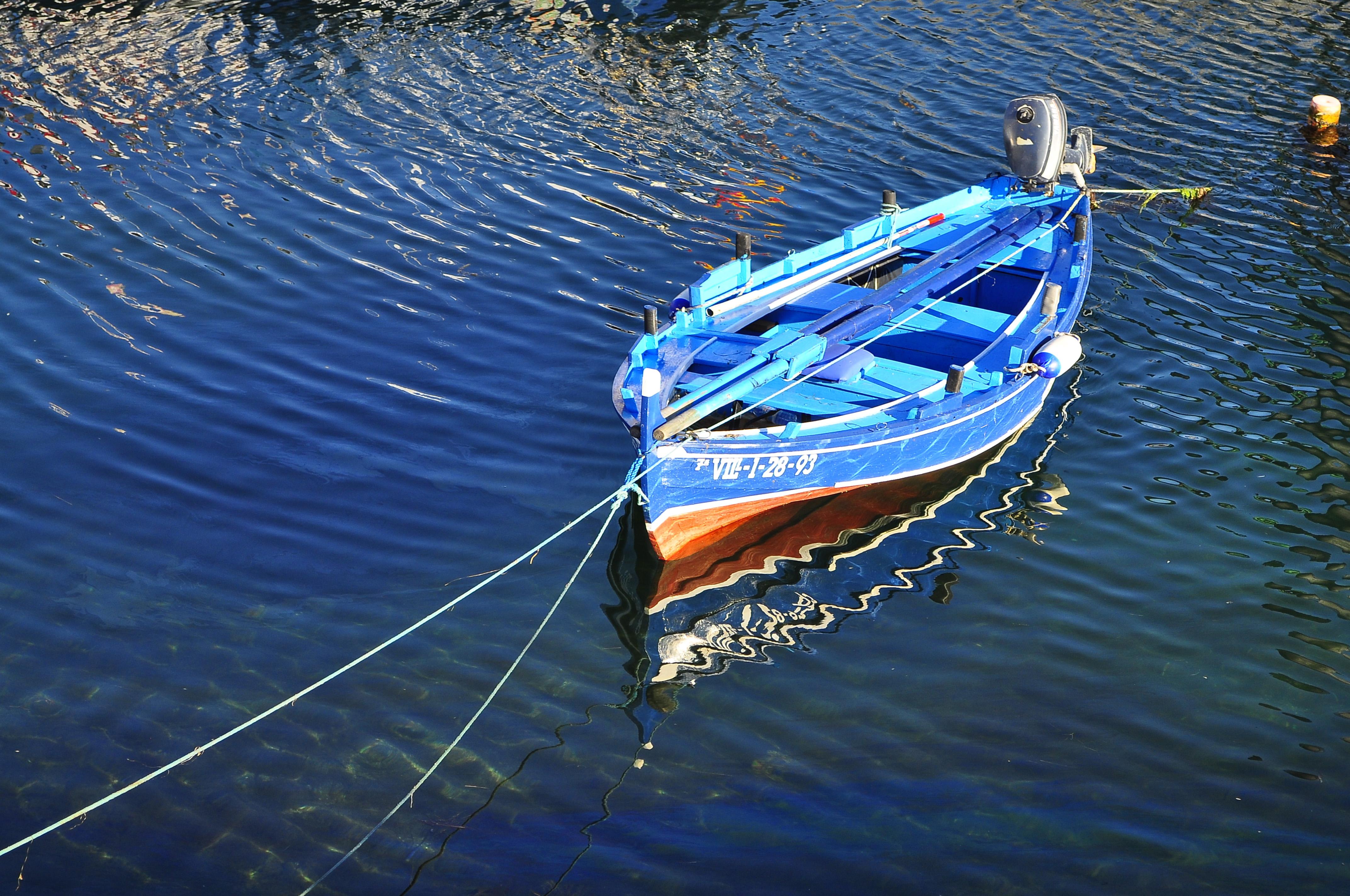 The blue boat, Agua, Beach, Blue, Boat, HQ Photo