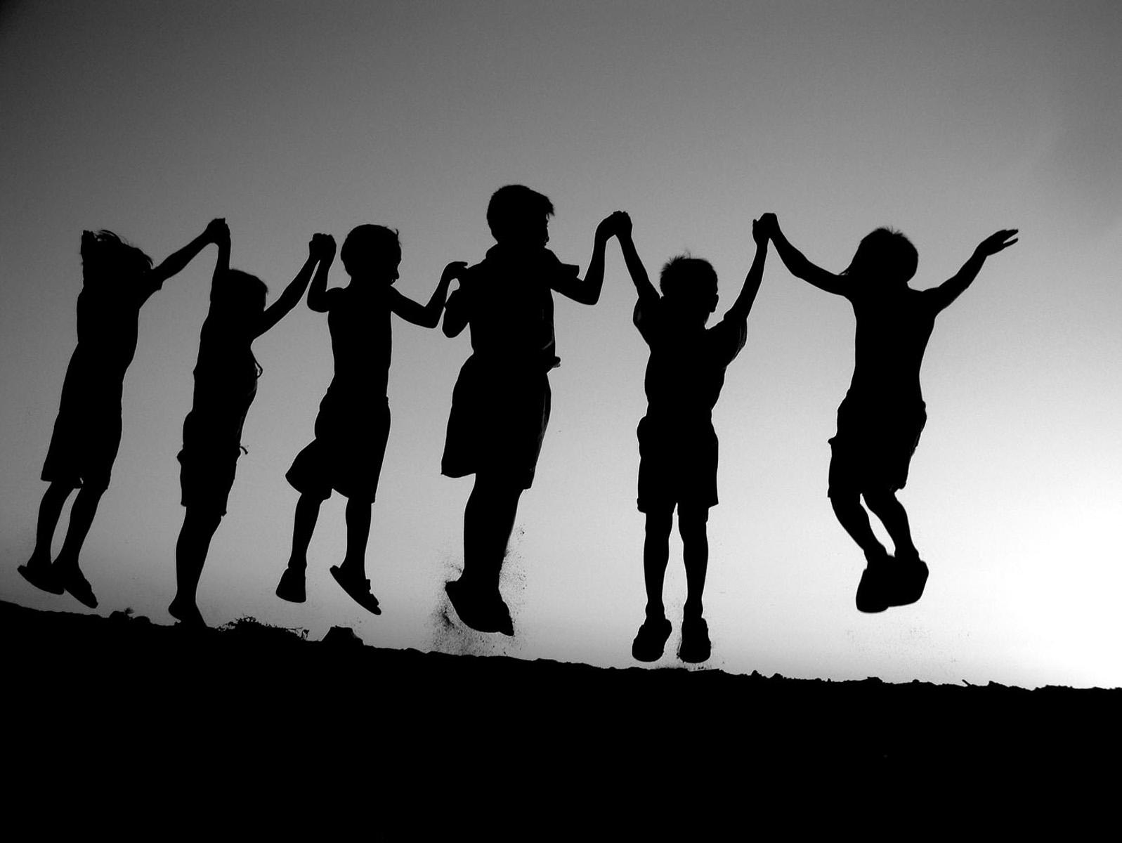 The joy of childhood bw photo