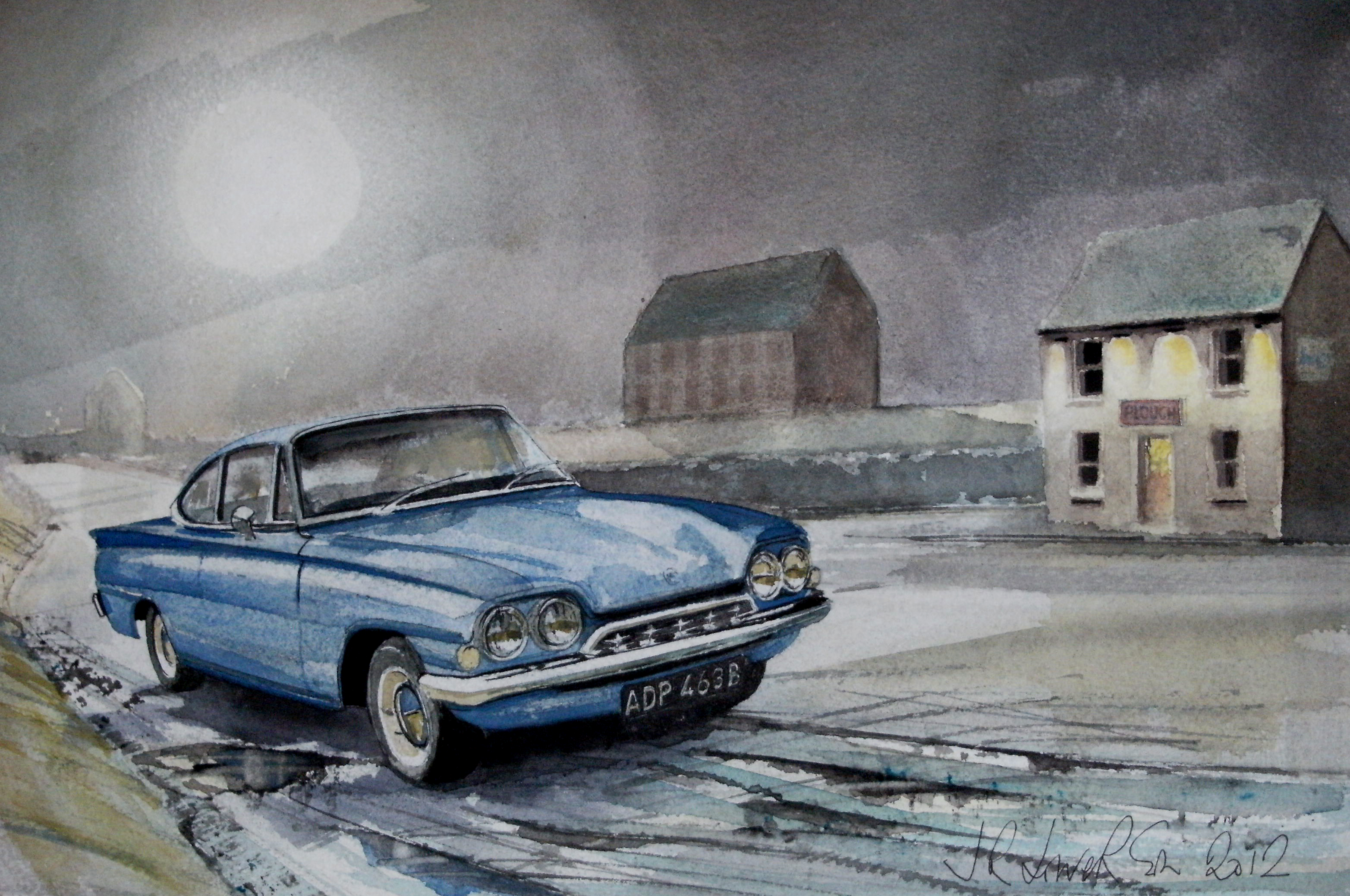 The moon and a ford consul capri photo