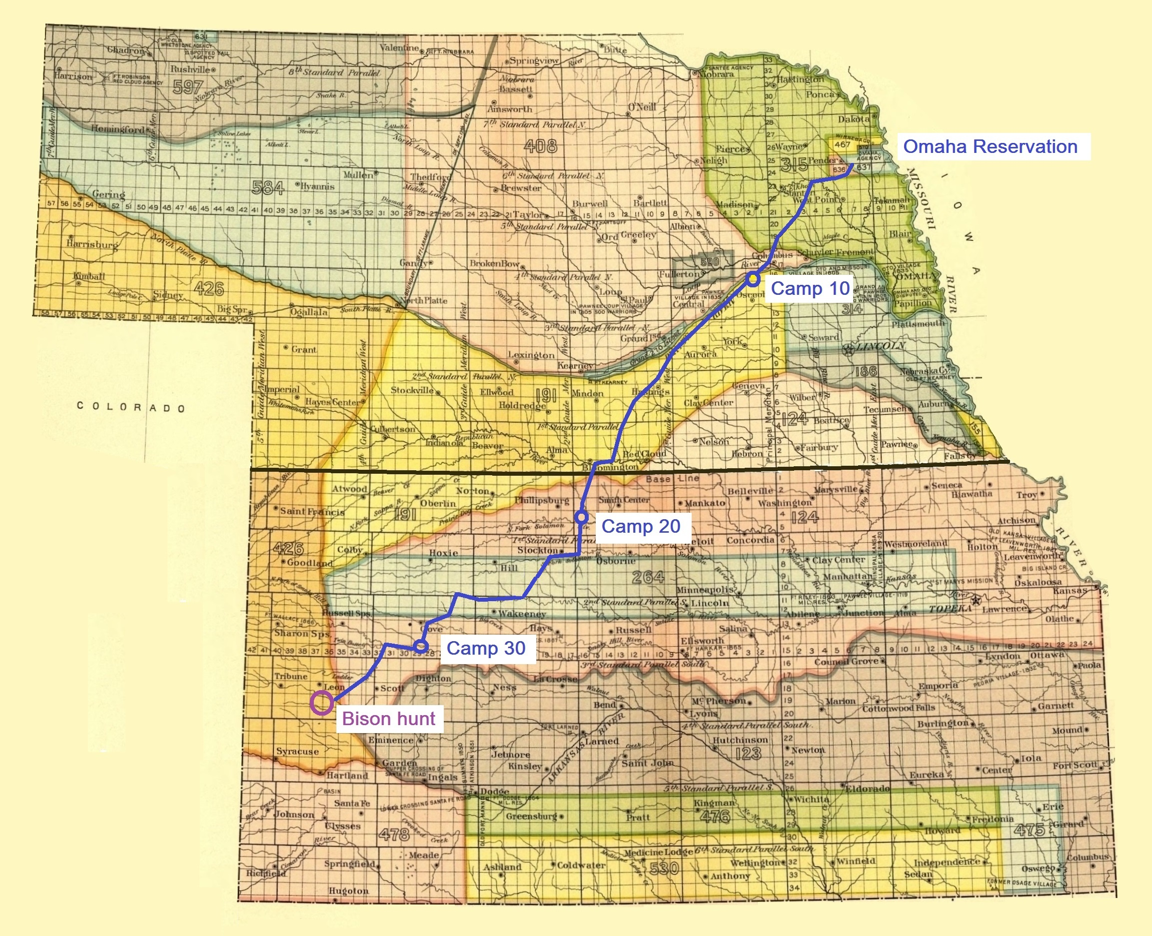 File:Map showing the route of the Omaha tribe during the last bison ...