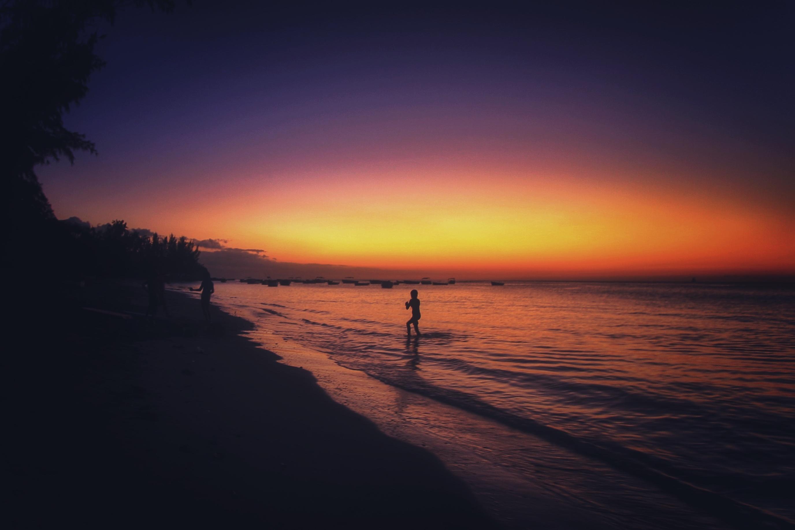 The Sunset, Activity, Beach, Dark, Flow, HQ Photo