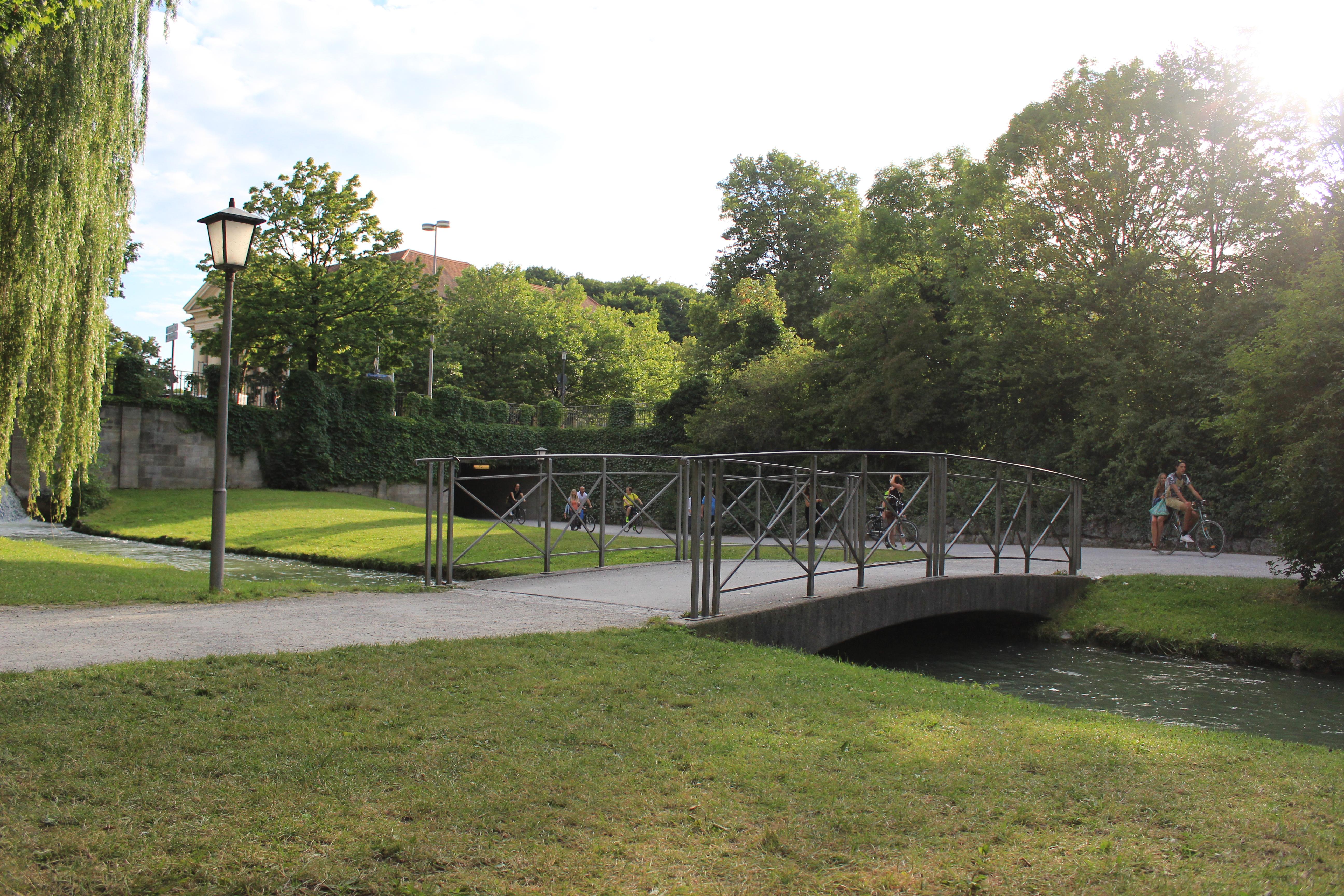The walking bridge, Bridge, Garden, Green, Lake, HQ Photo