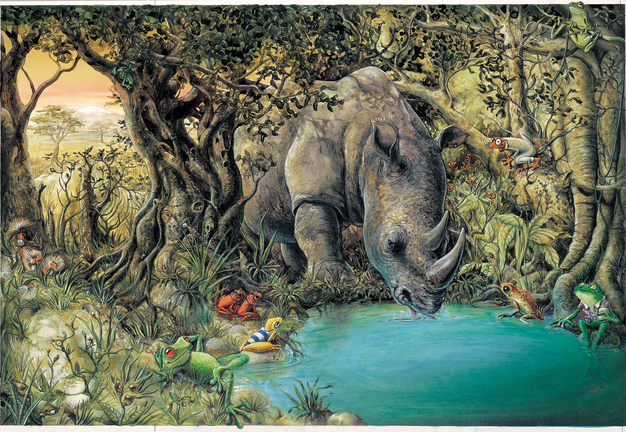 One Rhino Drinking at the Water Hole | Graeme Base
