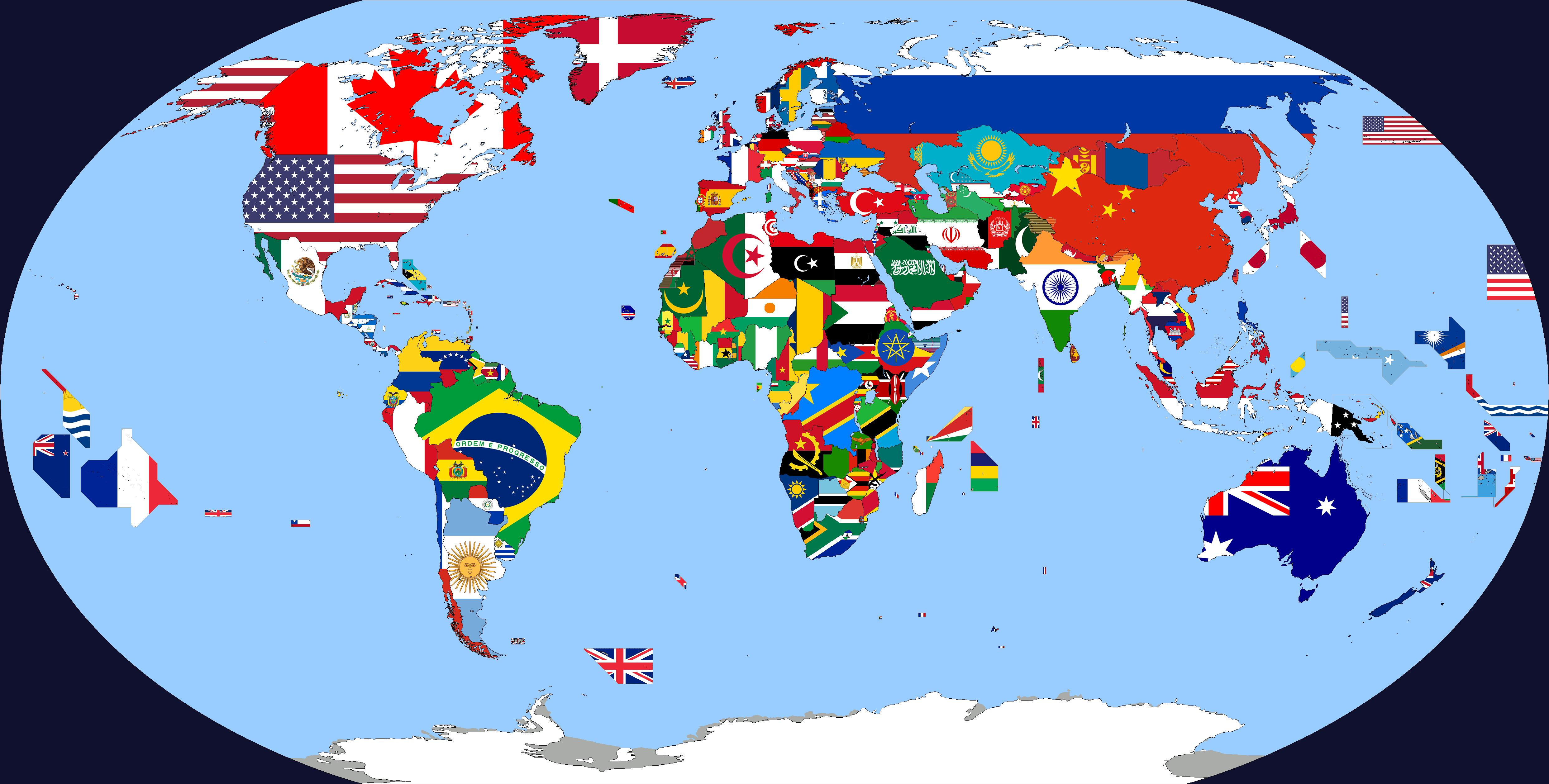 Just finished my Flag Map of the world [OC] [4972x2517] - Imgur
