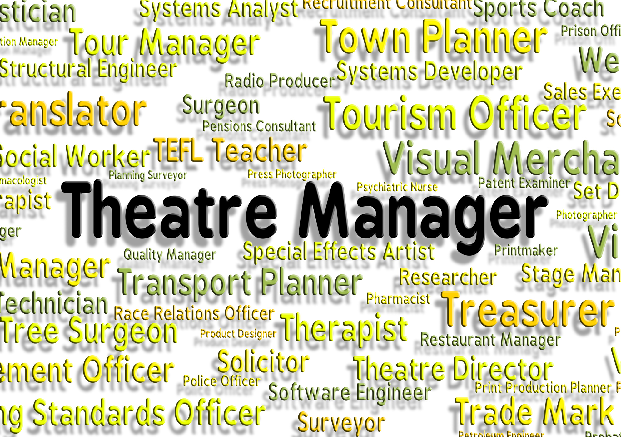 Theatre manager shows stage work and chief photo