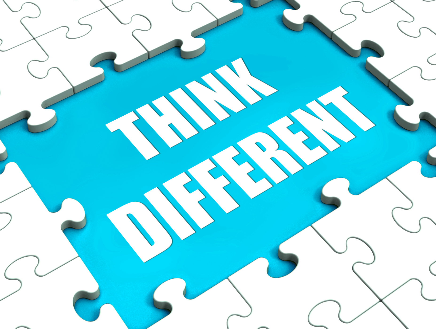 Think different puzzle shows thinking outside the box photo