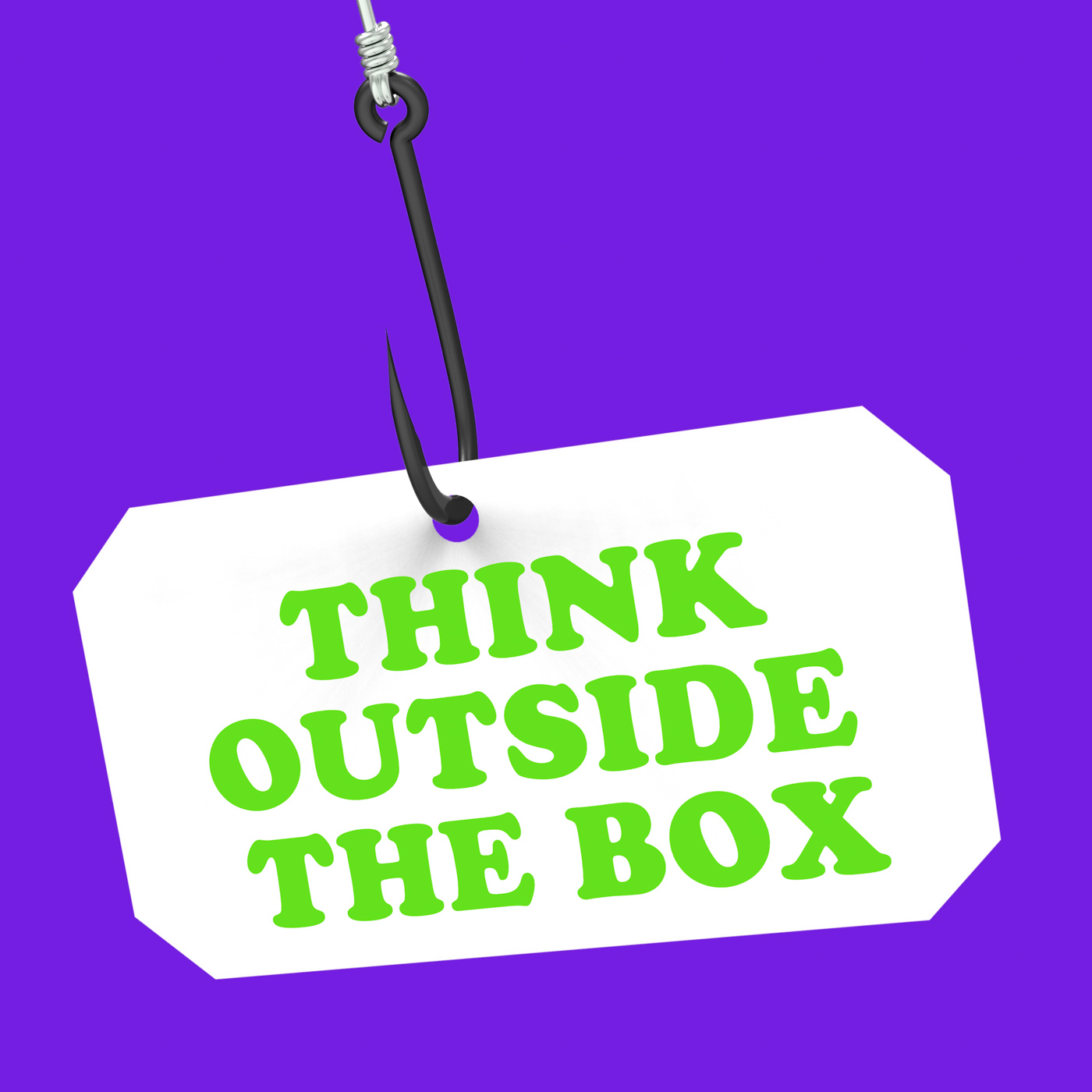 Think outside the box on hook shows imagination and creativity photo