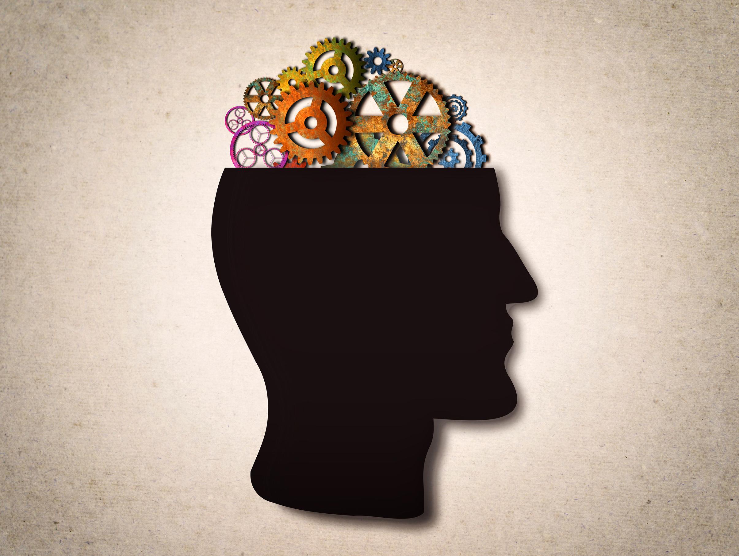 Thinking - cogwheels on the head photo