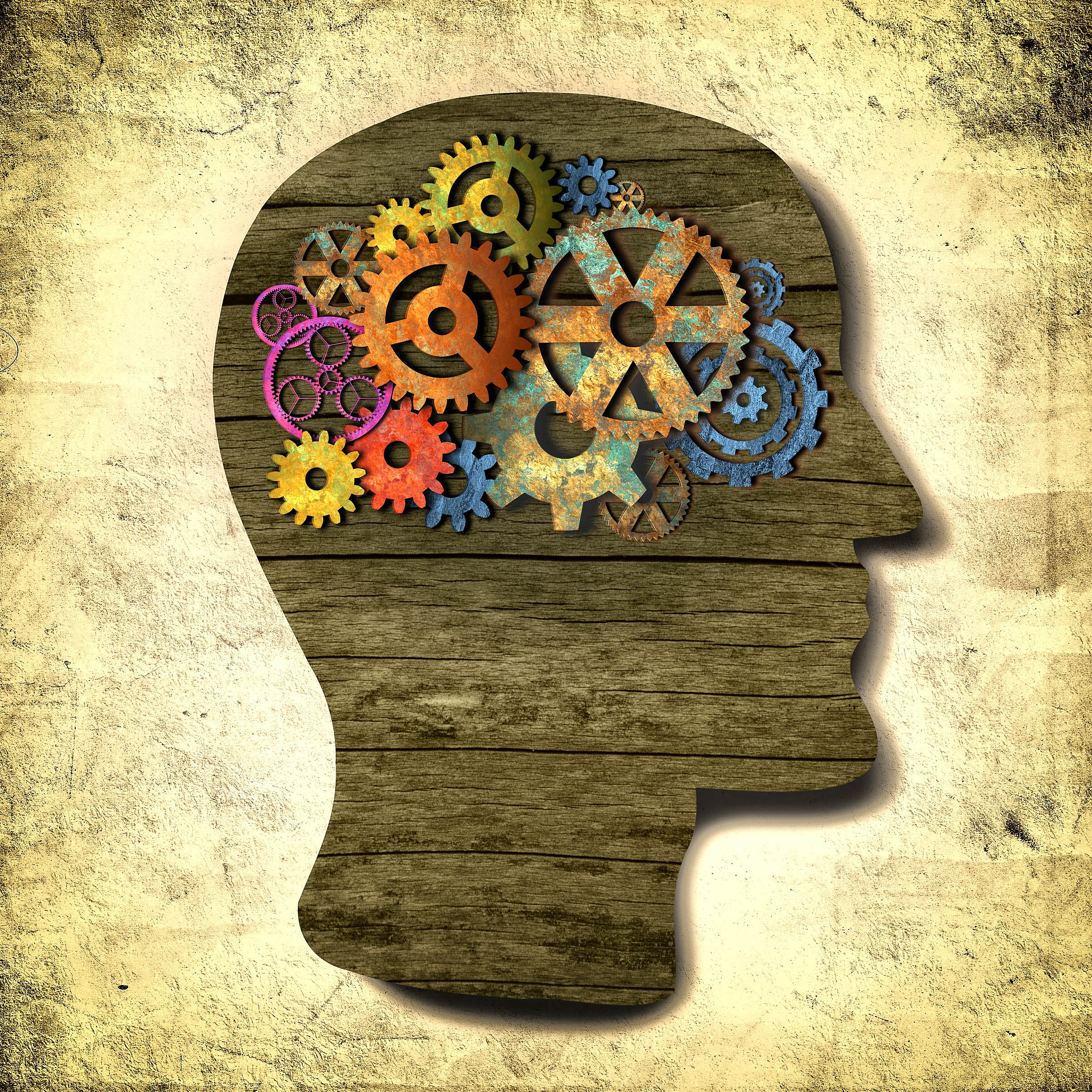 Thinking person - thinking fast and slow - retro design with cogwheels photo