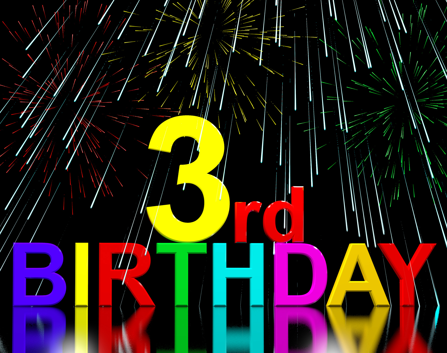 Free Photo Third Or 3rd Birthday Celebrated With Fireworks 3