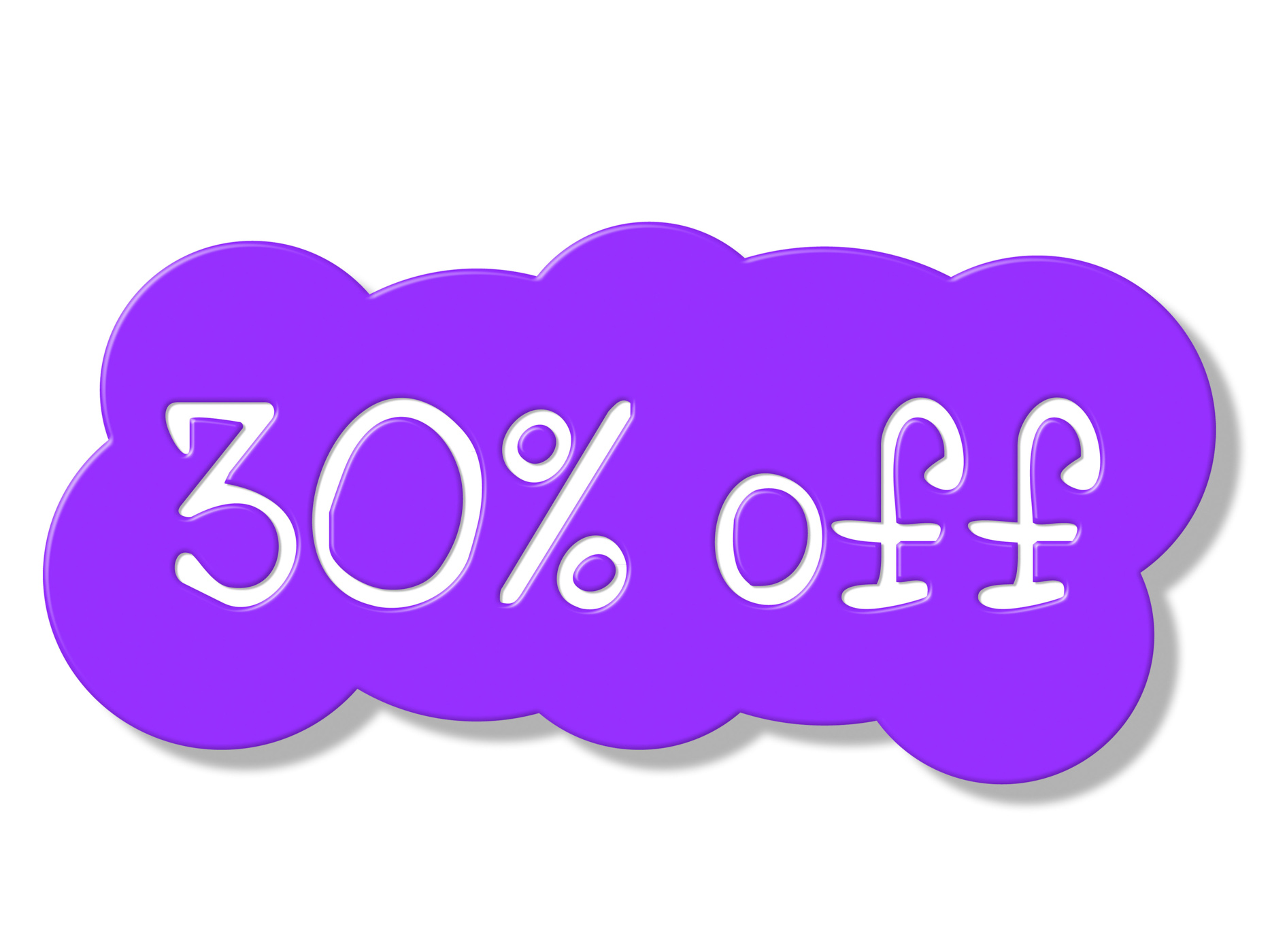 Thirty percent off shows discount savings and promotion photo