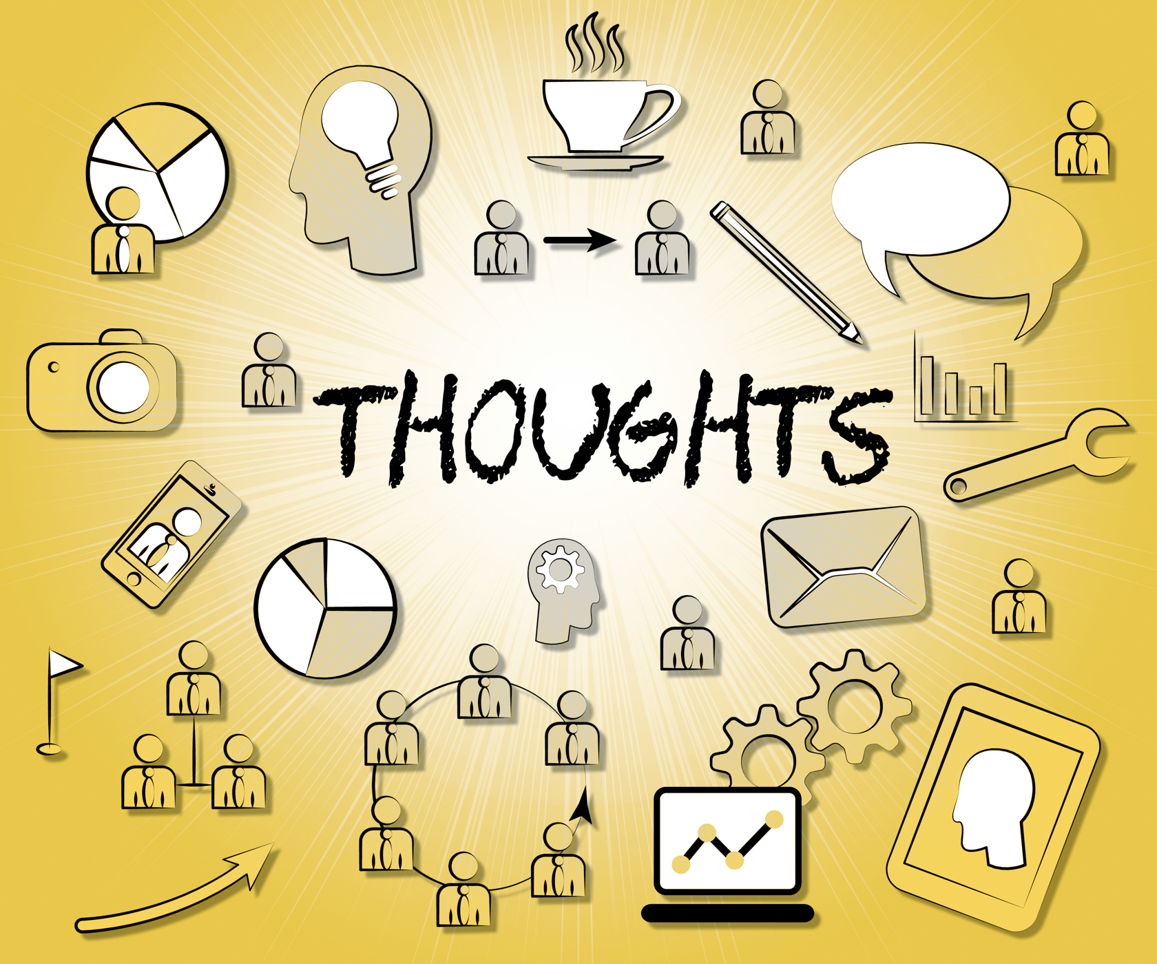 Thoughts Icons Represents Idea Reflection And Sign, About, Plan, Thinking, Think, HQ Photo
