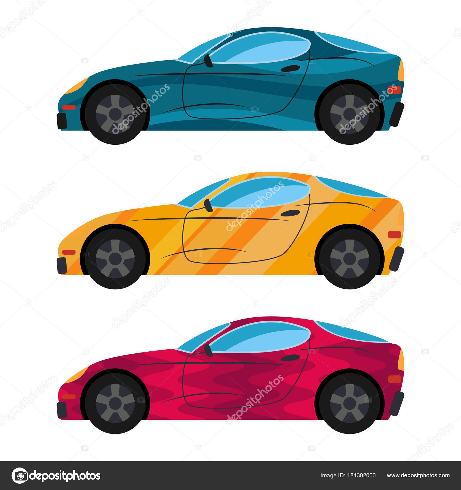 A set of three cars painted in different colors. — Stock Vector ...