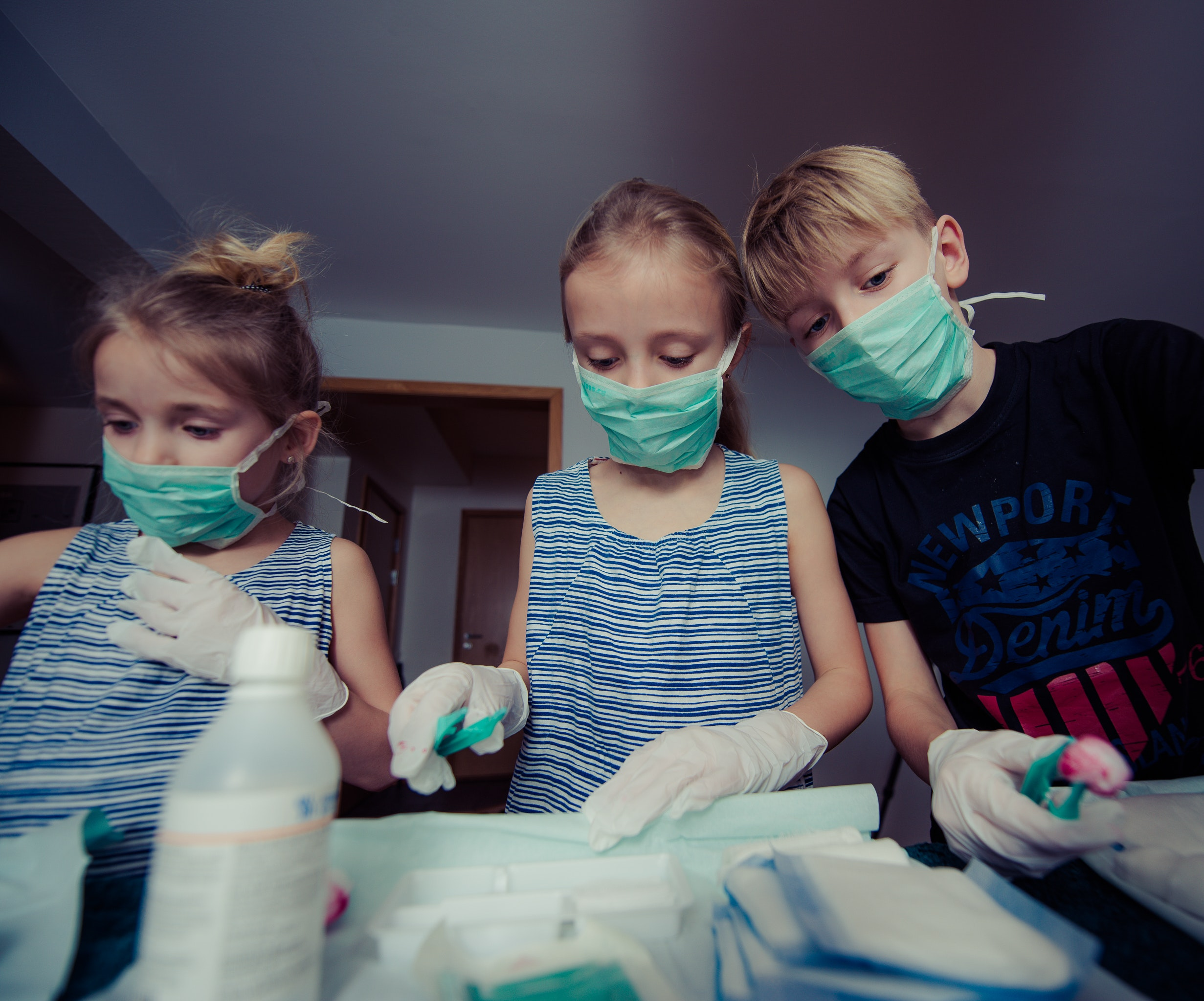 Three Children Wearing Face Masks, People, Kids, Playing, Room, HQ Photo
