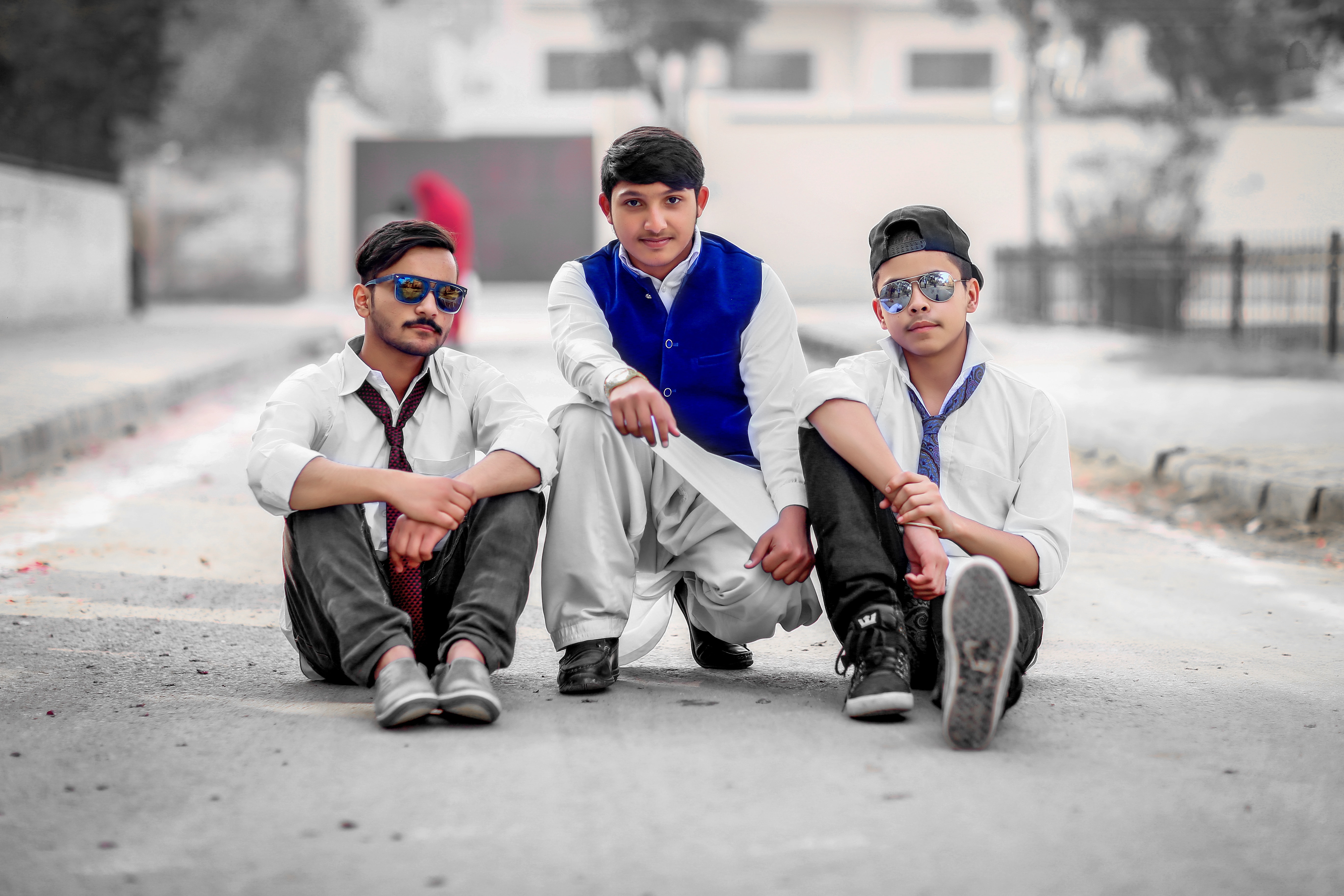 Three Men Sitting on Gray Concrete Road, Road, Young, Wear, Urban, HQ Photo