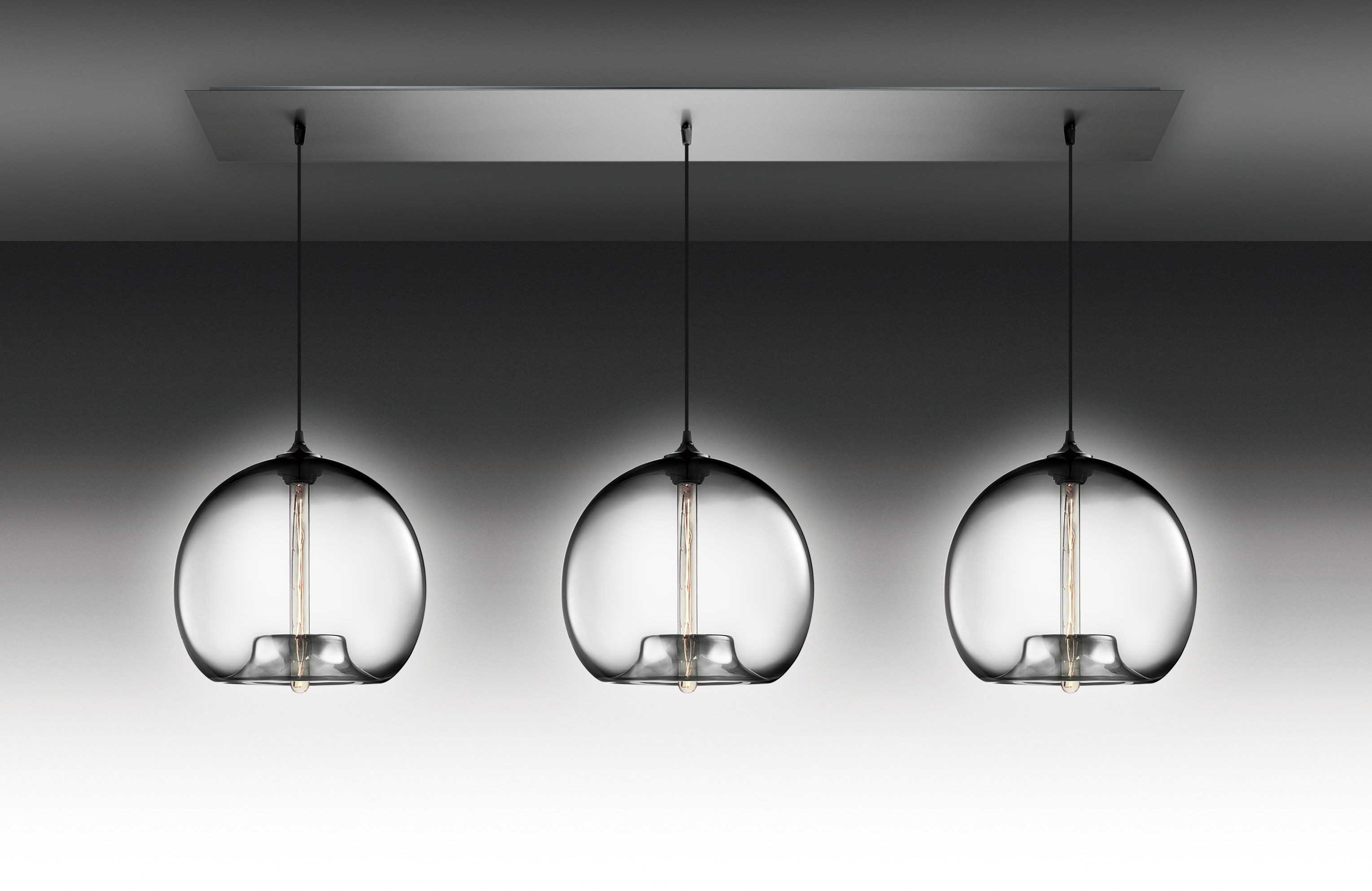 Exceptional Three Globe Clear Glass Covers Hanging Modern Ceiling ...