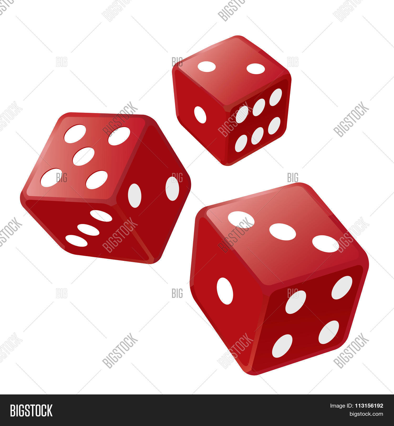 Three Red Dices Vector & Photo | Bigstock