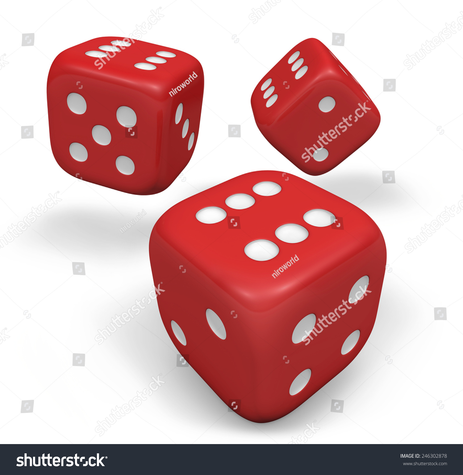 Rendering 3d Three Rolling Red Dice Stock Illustration 246302878 ...