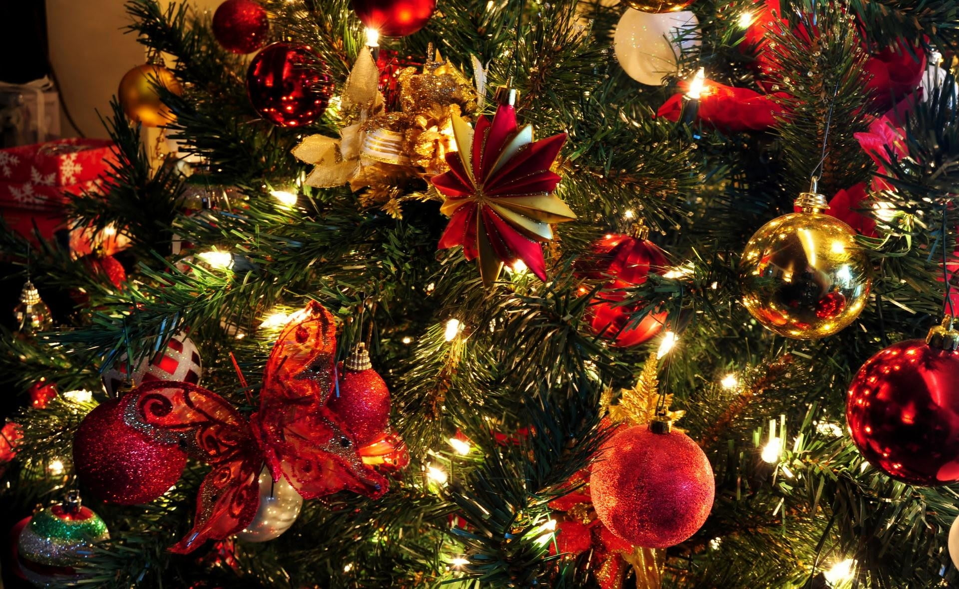 Green Christmas tree with red baubles and yellow string lights photo ...