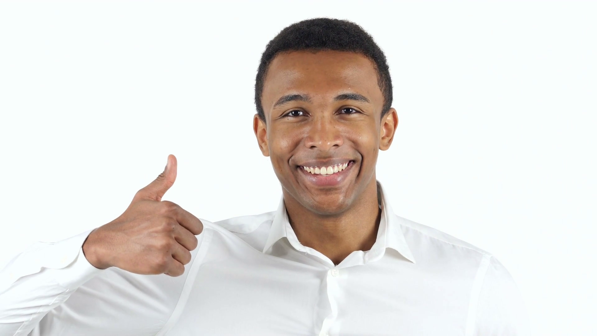 Thumbs Up by Black Man on White Background Stock Video Footage ...