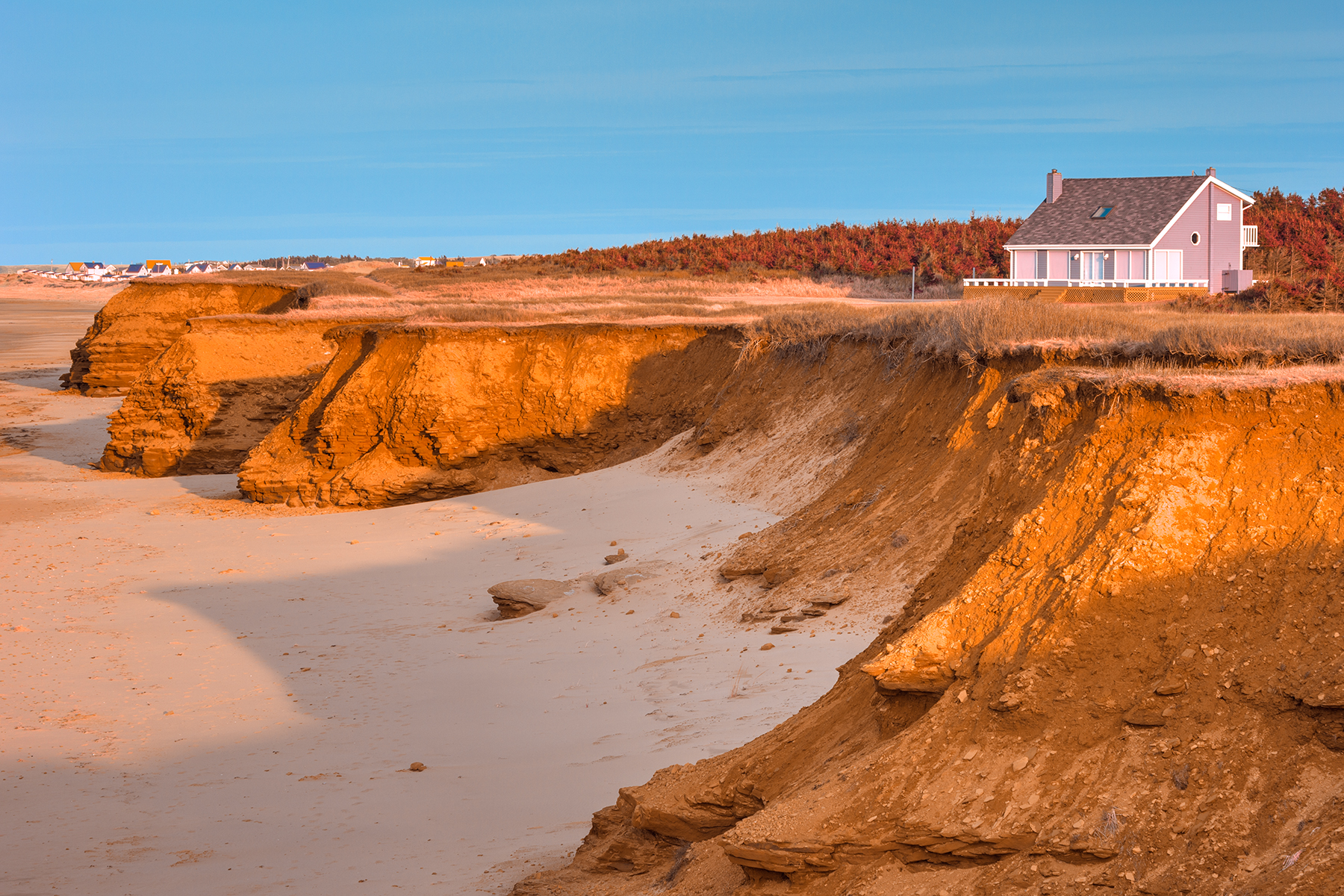 Thunder cove beach cliffs - golden pastel hour hdr photo