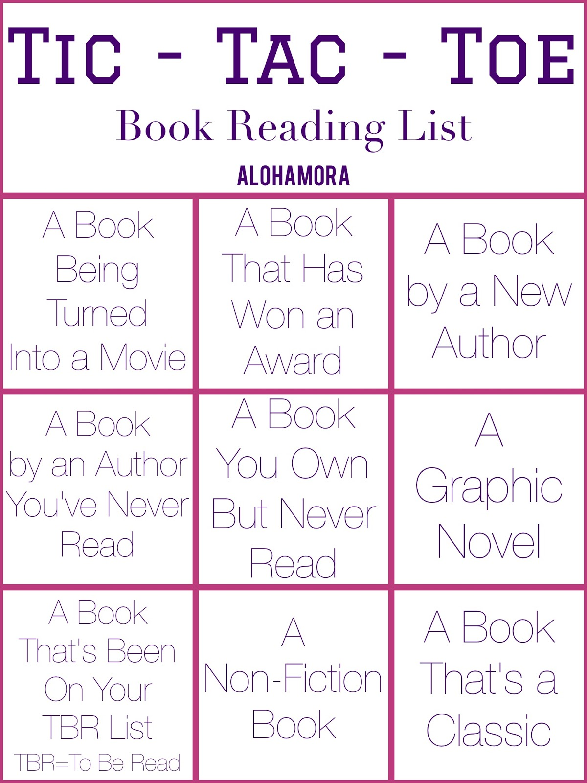 Alohamora: Open a Book: Tic-Tac-Toe Book List... What to Read Next?