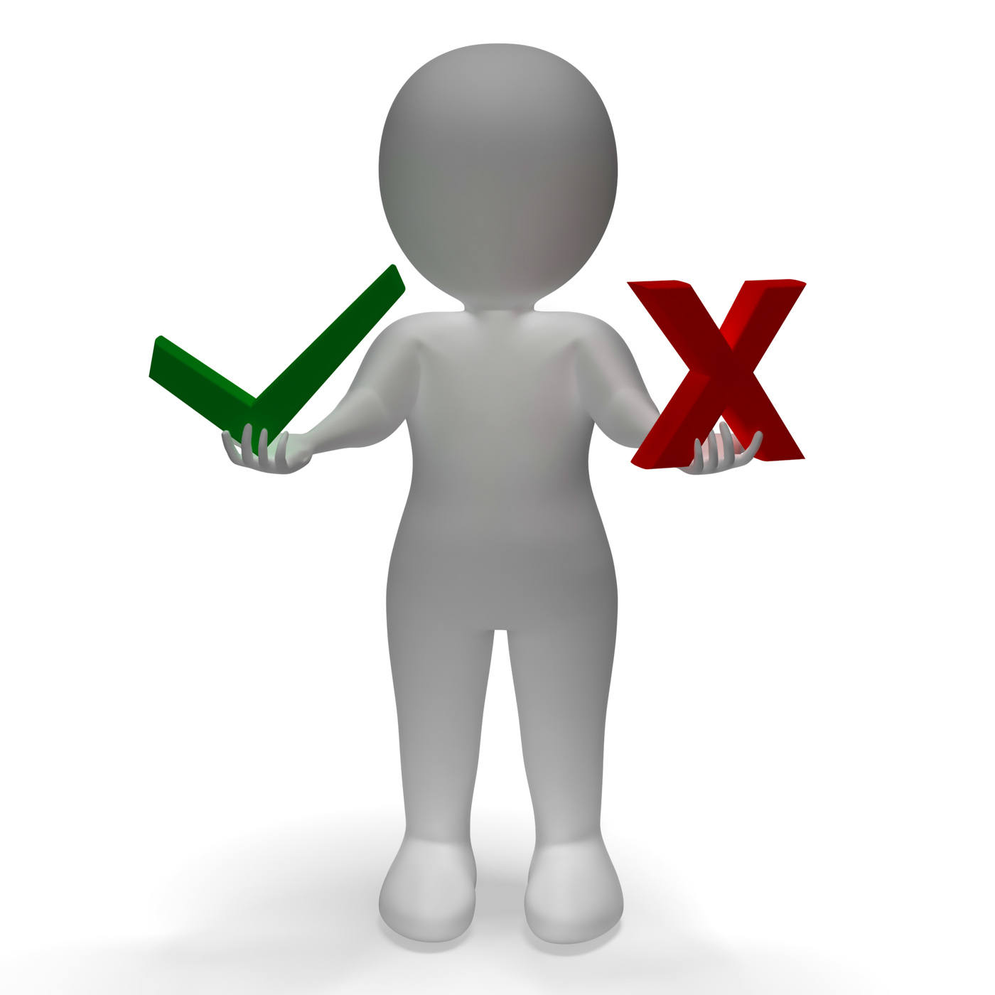 Tick and cross symbols showing choice or decision photo