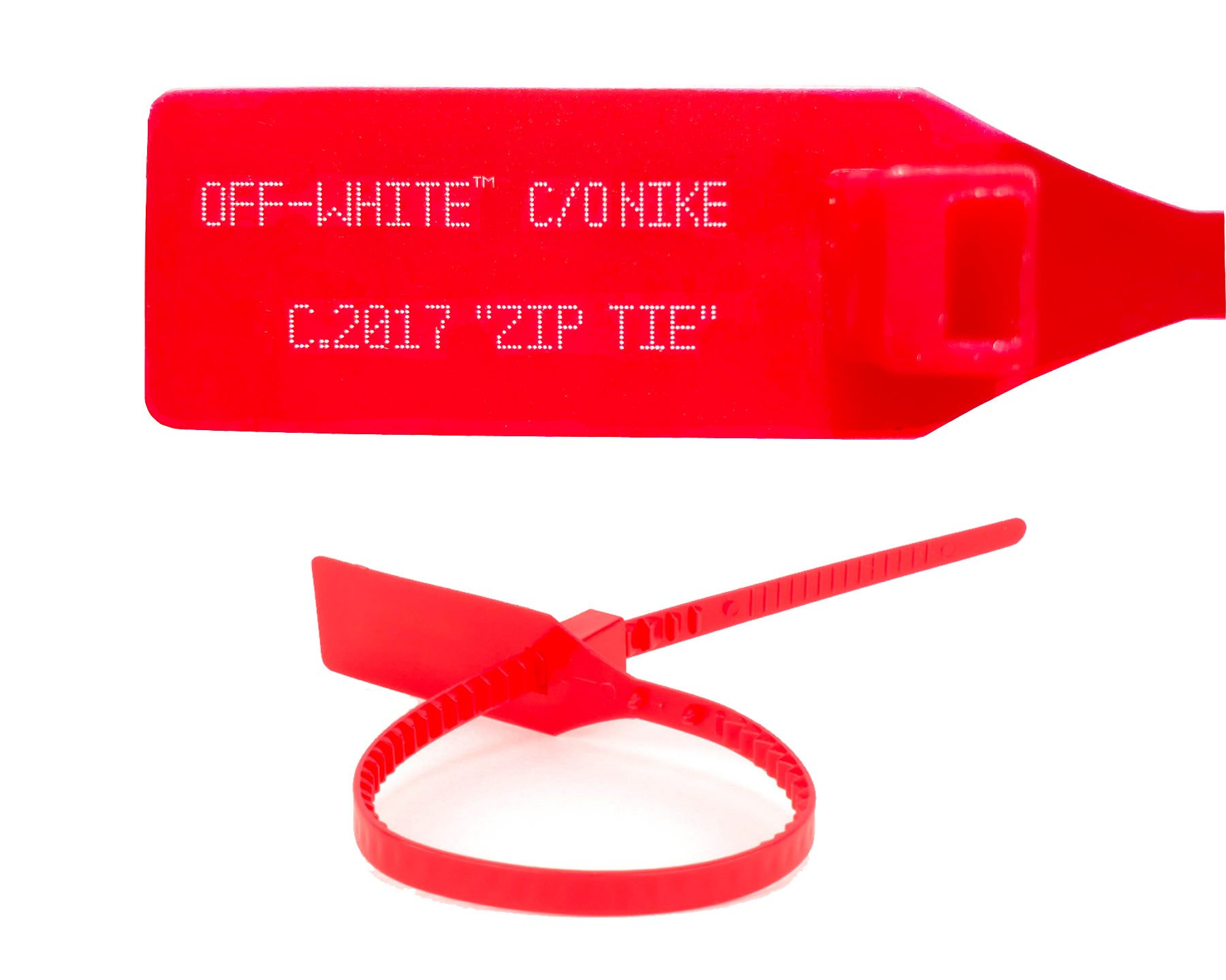 RED OFF WHITE ZIP TIE WITH PRINTED OFF WHITE TEXT (REGULAR SIZE ...