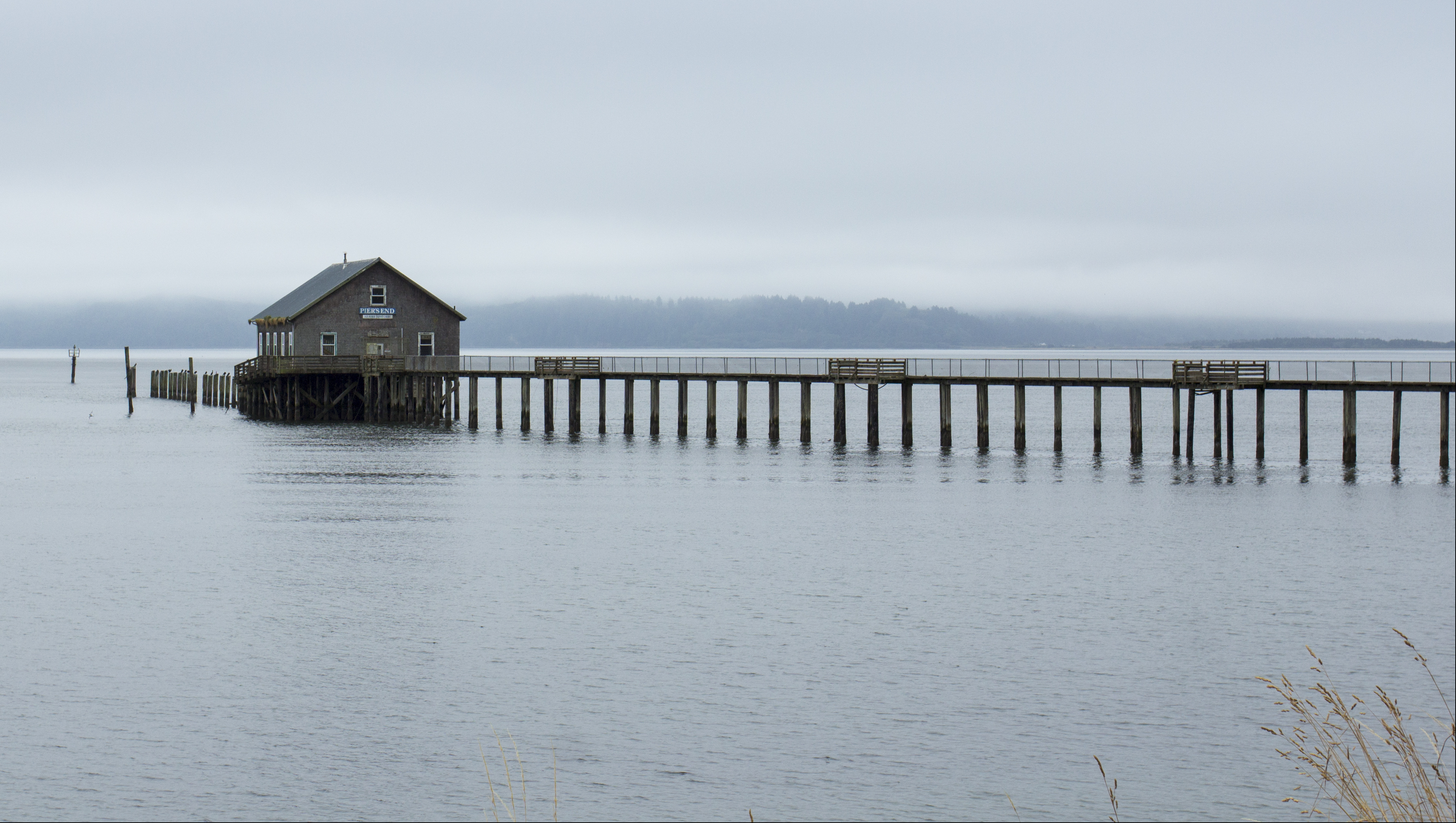 Tillamook Bay, Garibaldi, Oregon, Bay, Bridge, Fog, House, HQ Photo
