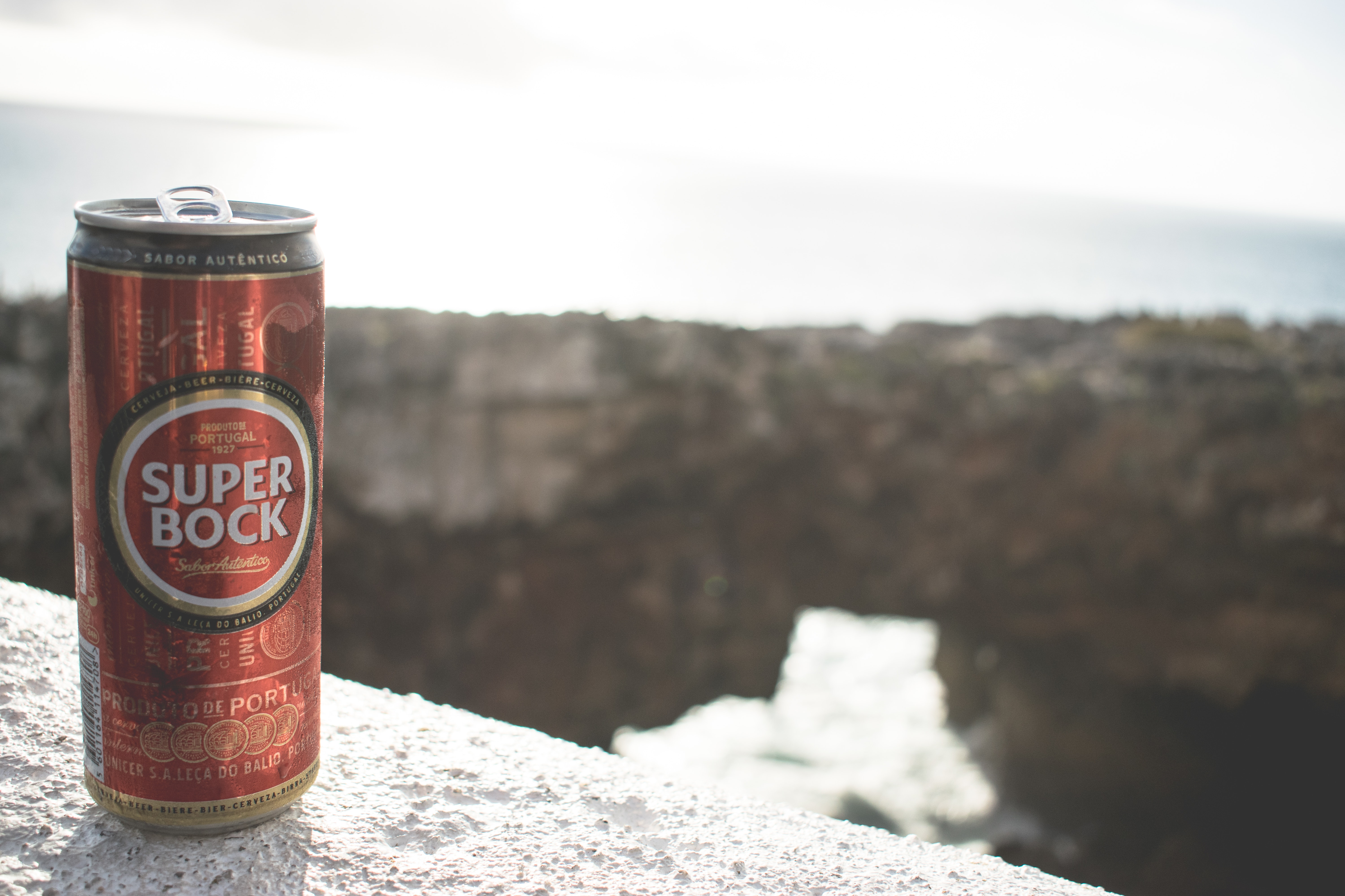 Tilt lens photography of super bock tin can