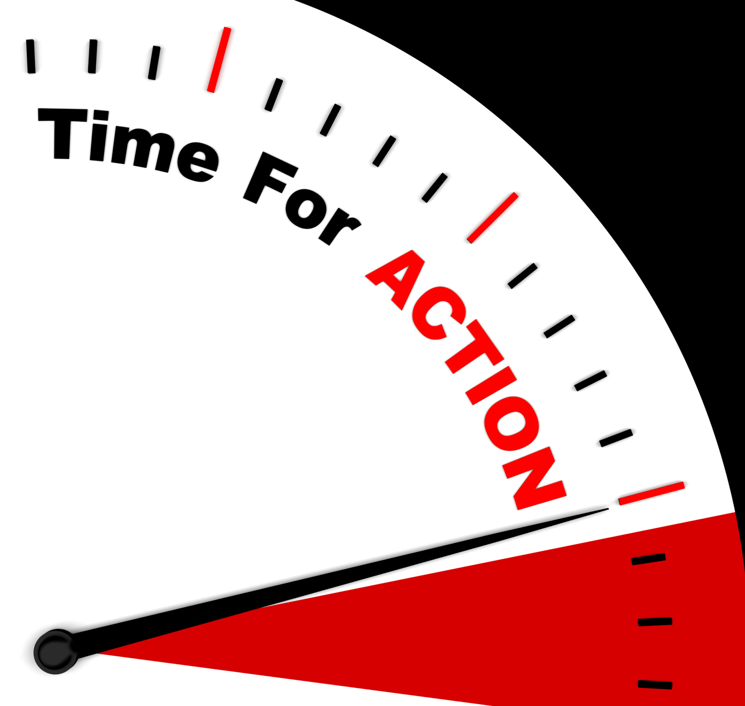 Time for action clock saying to inspire and motivate photo
