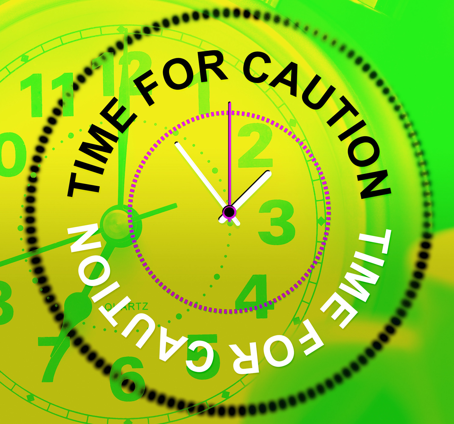 Time for caution represents advisory cautious and beware photo