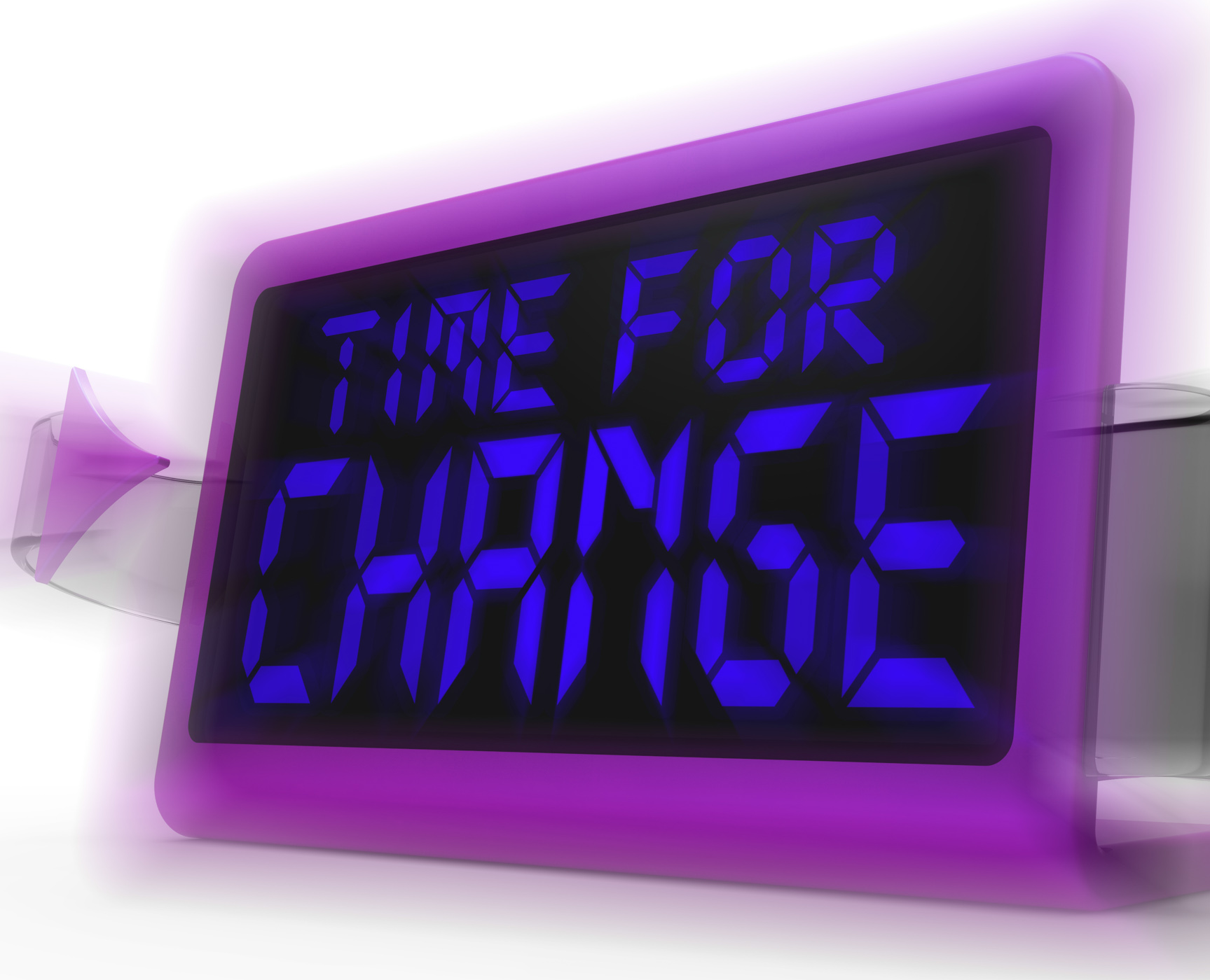 Time for change digital clock shows revision new strategy and goals photo