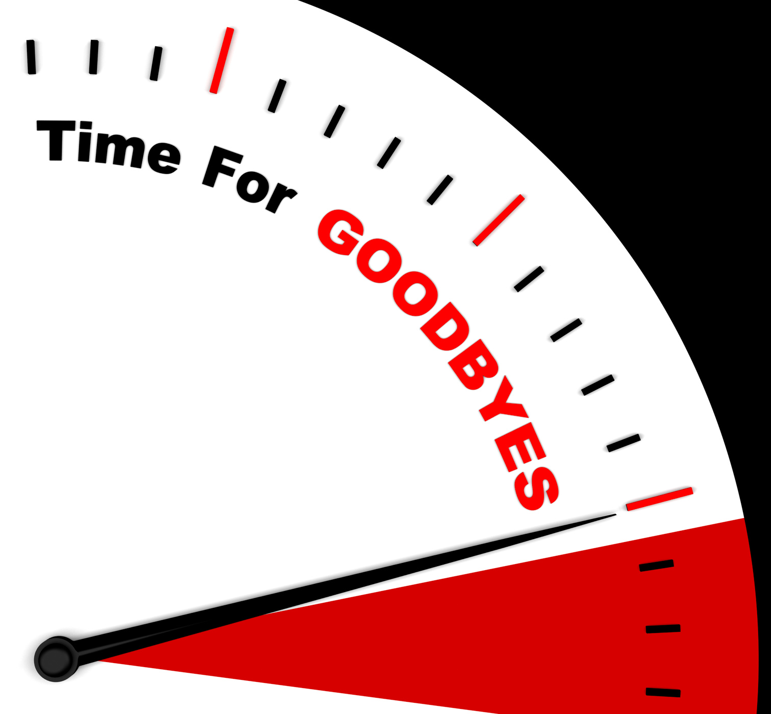 Time for goodbyes message shows farewell or bye photo