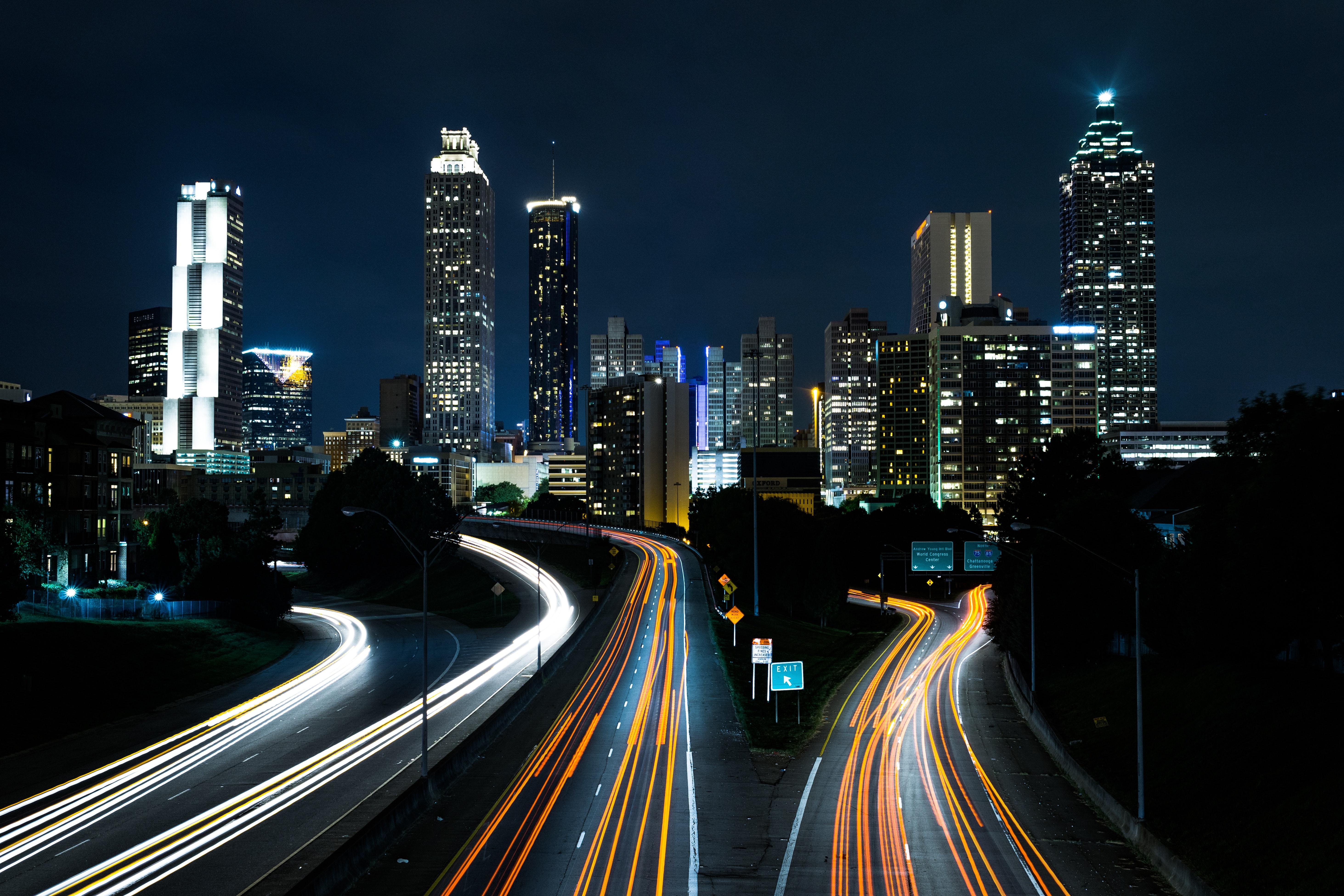 Time Lapse Cars on Fast Motion, Bridge, Long-exposure, Traffic, Time-lapse, HQ Photo