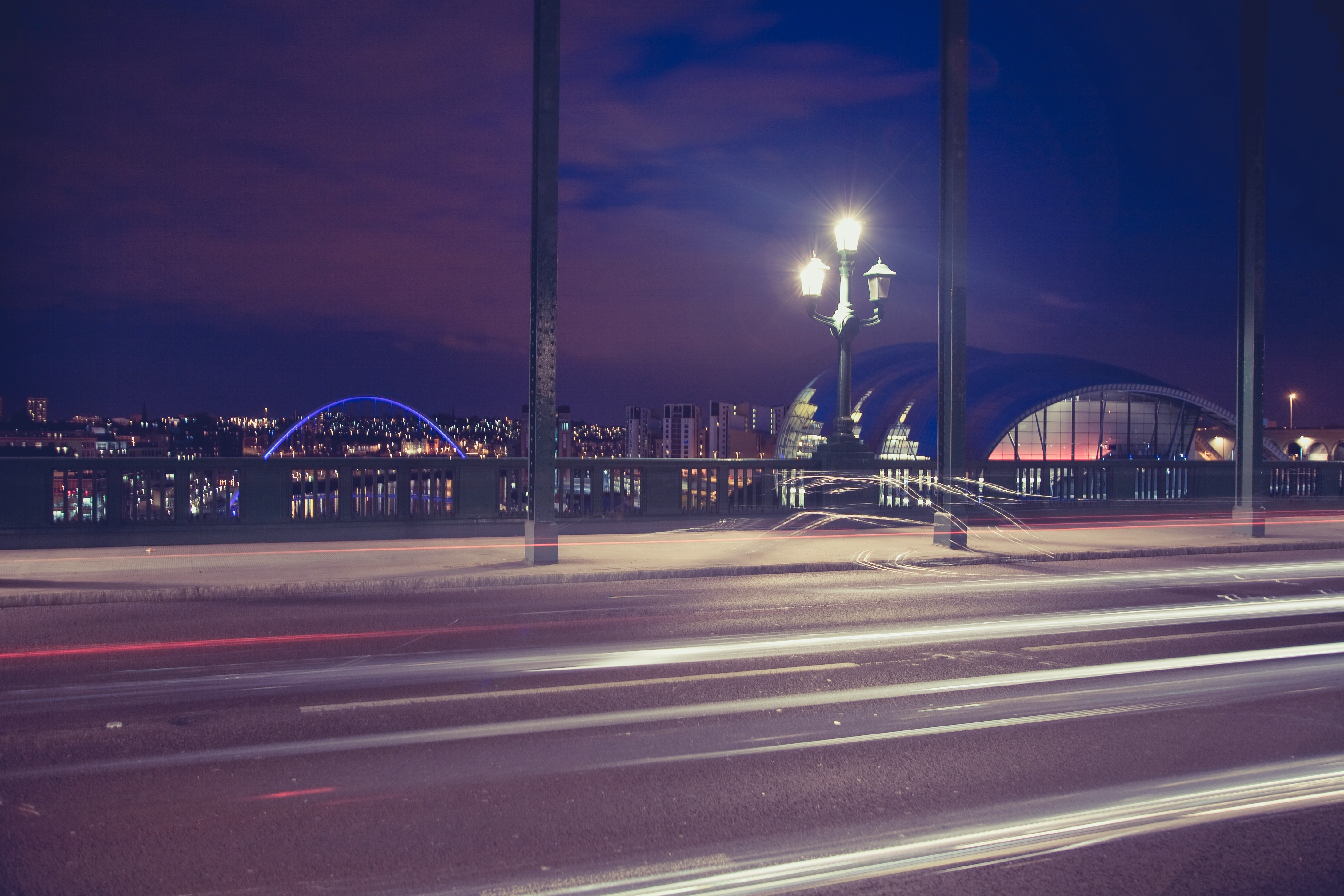 Time Lapse Photography of a Bridge during Night Time, Road, Structure, Uk, Night, HQ Photo