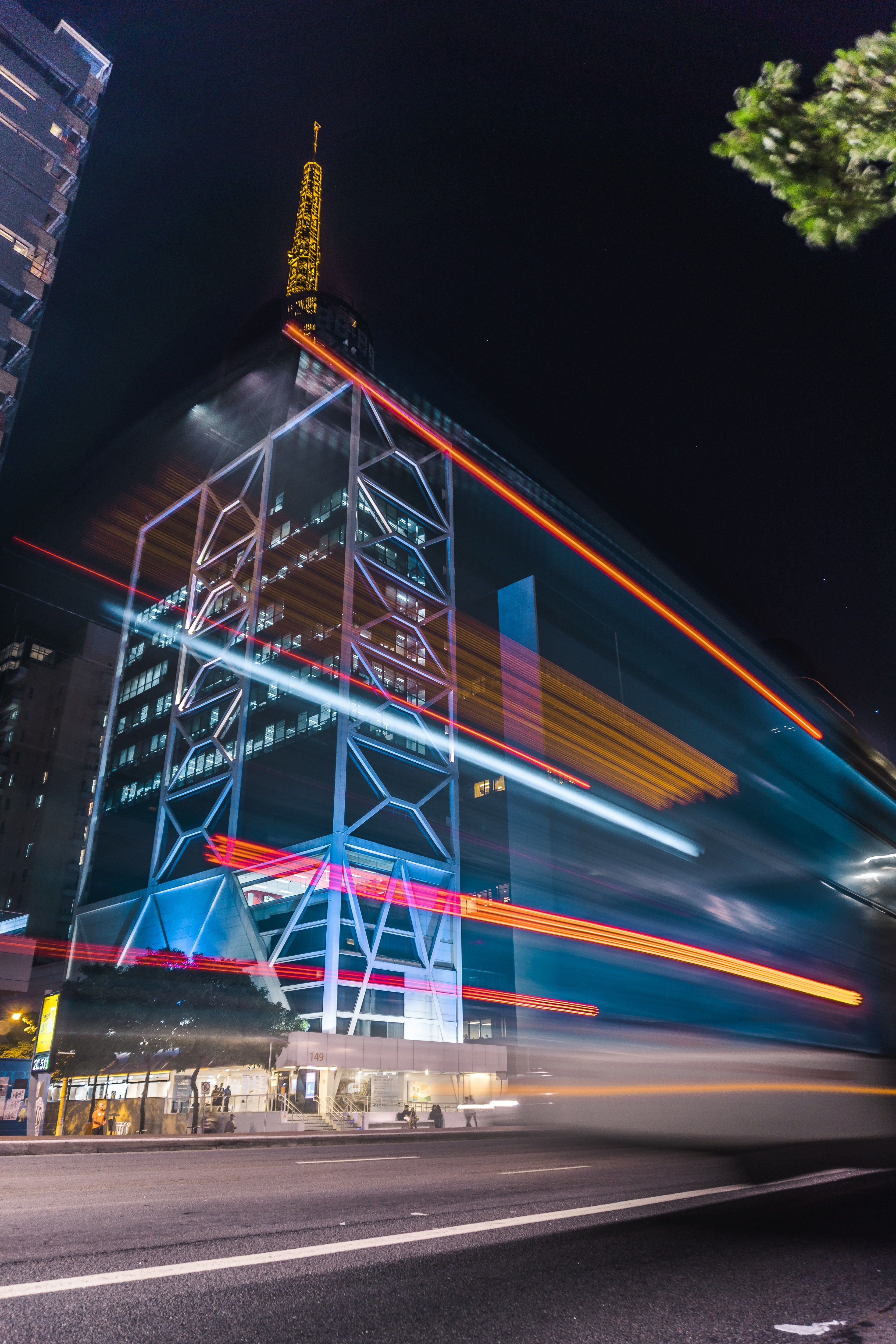 Time Lapse Photography of Cars and Buildings, Pavement, Outdoors, Night, Long exposure, HQ Photo