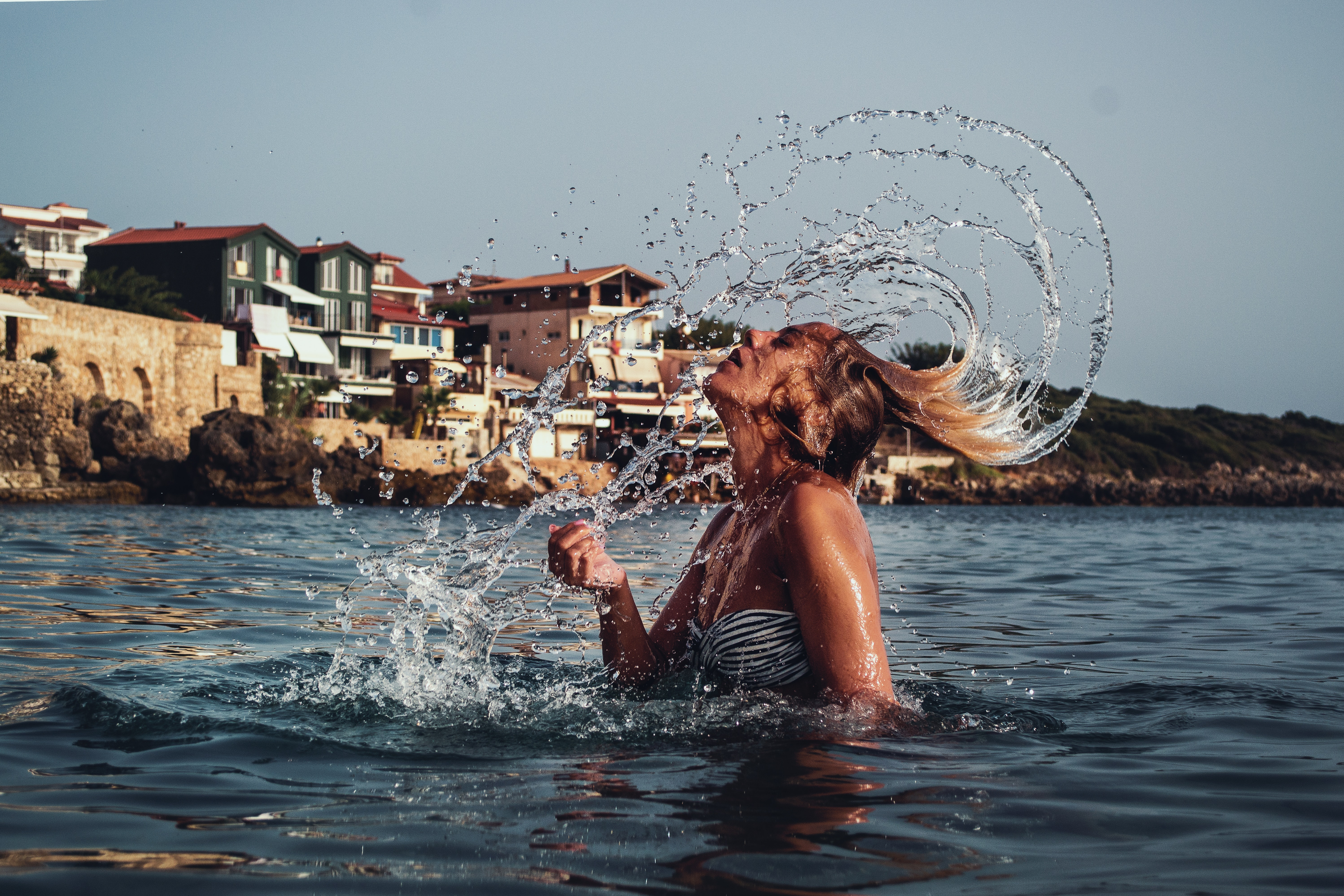 Time-lapse Photography of Woman Playing on Water With Her Hair, Splash, Splashing, Summer, Sexy, HQ Photo