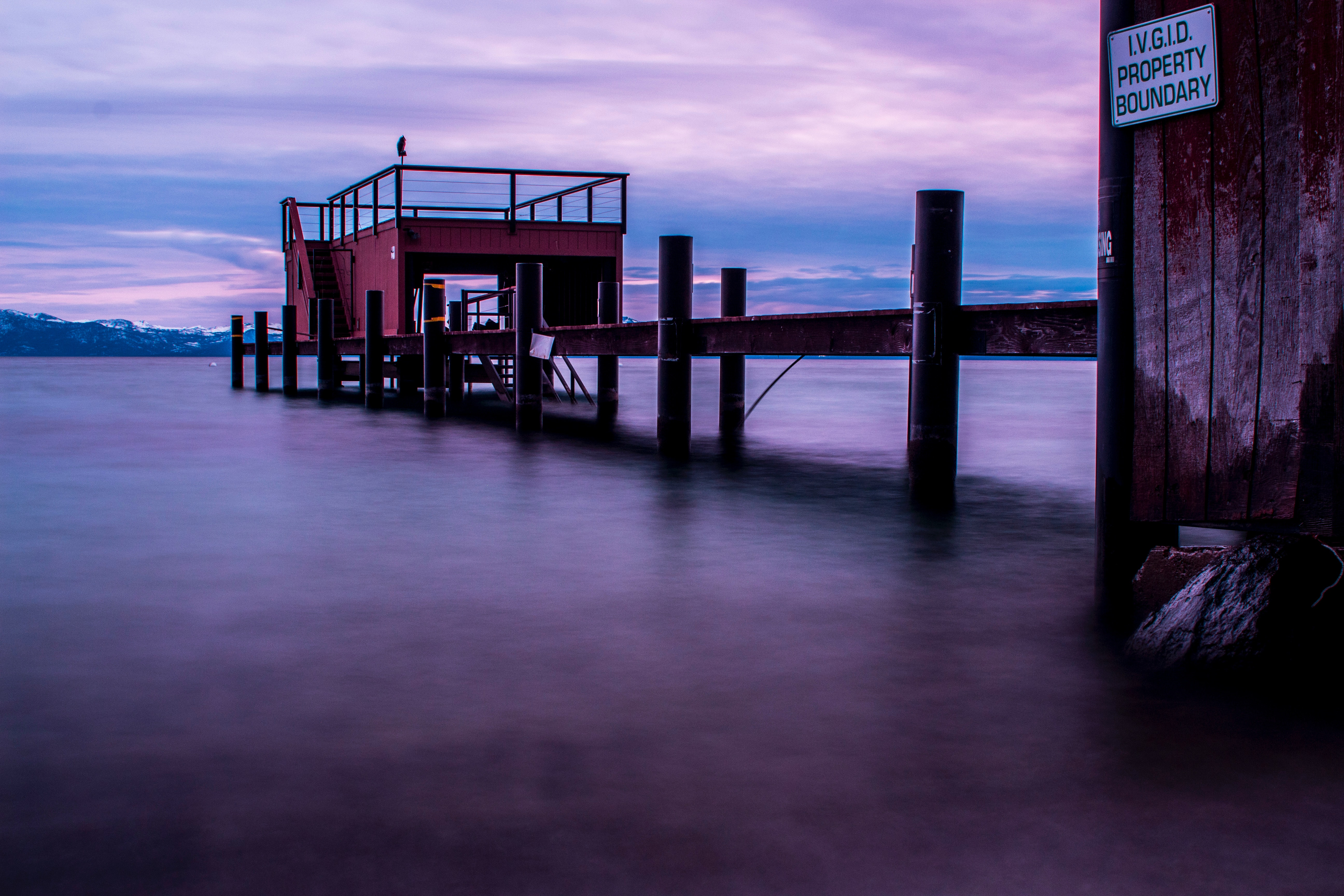 Time-lapsed Photography of Body Water With Red Stall, Boardwalk, Pier, Time lapse, Sunset, HQ Photo