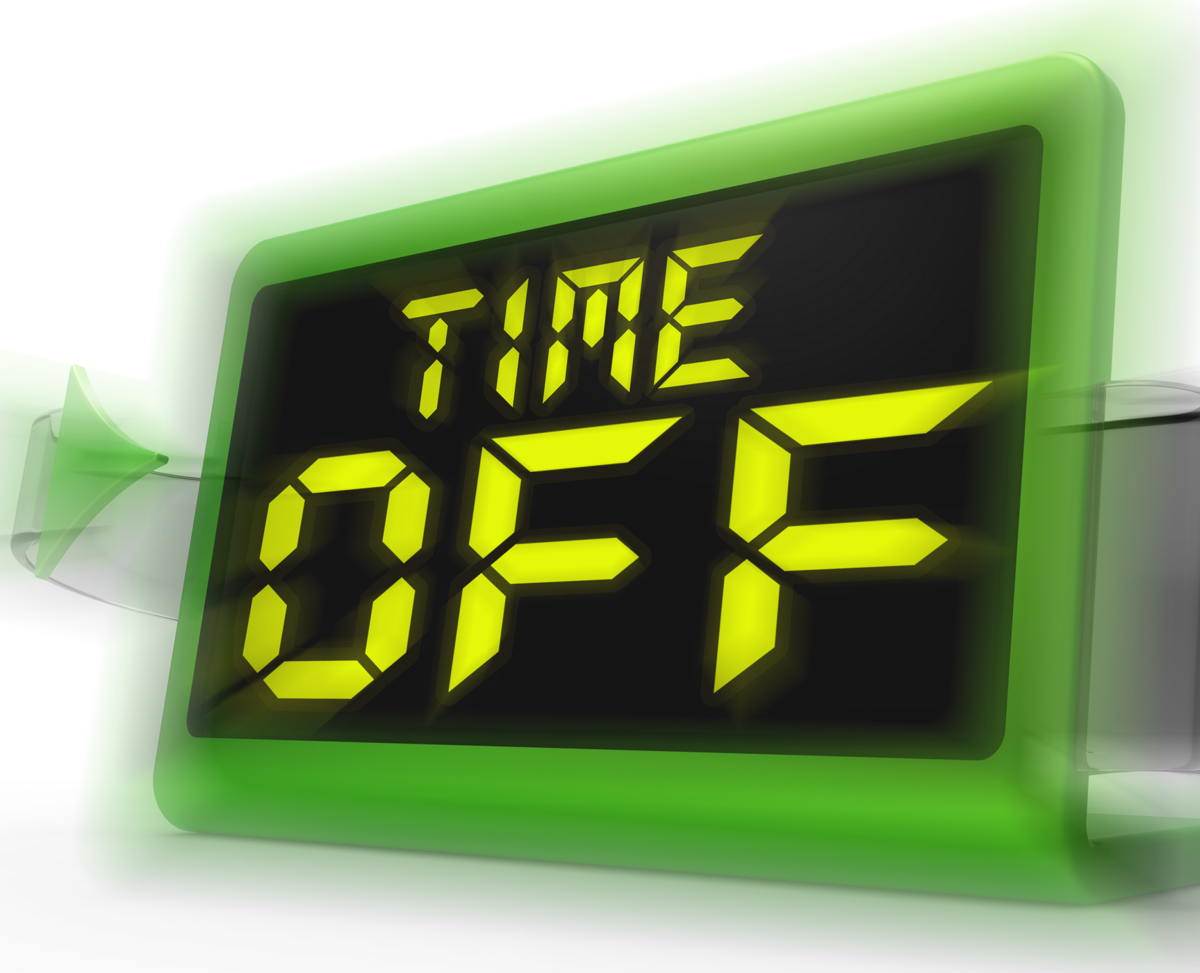 Time off digital clock shows holiday from work or study photo