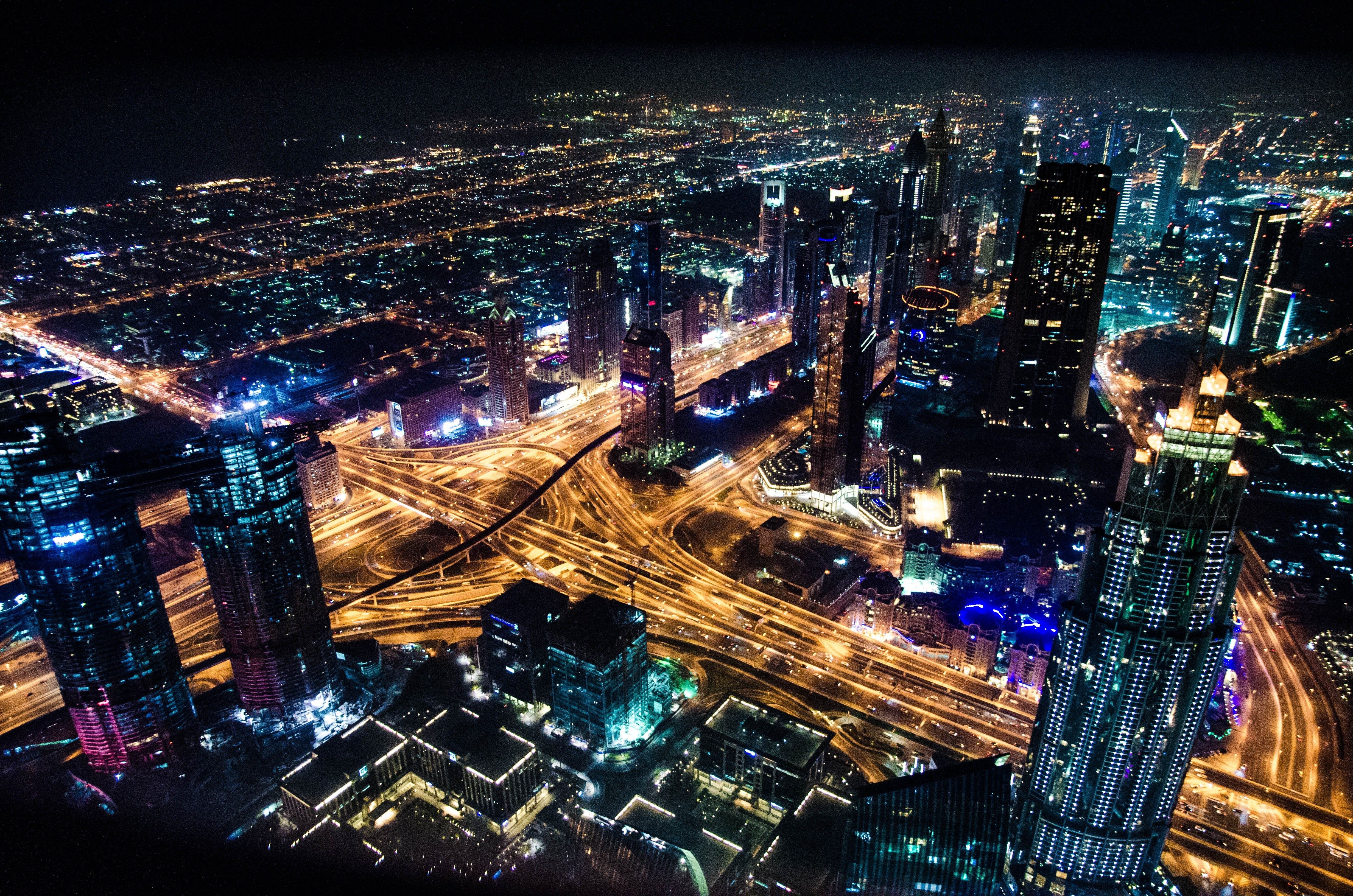Timelapse Cityscape Photography during Night Time, Skyline, Night, Office, Outdoors, HQ Photo
