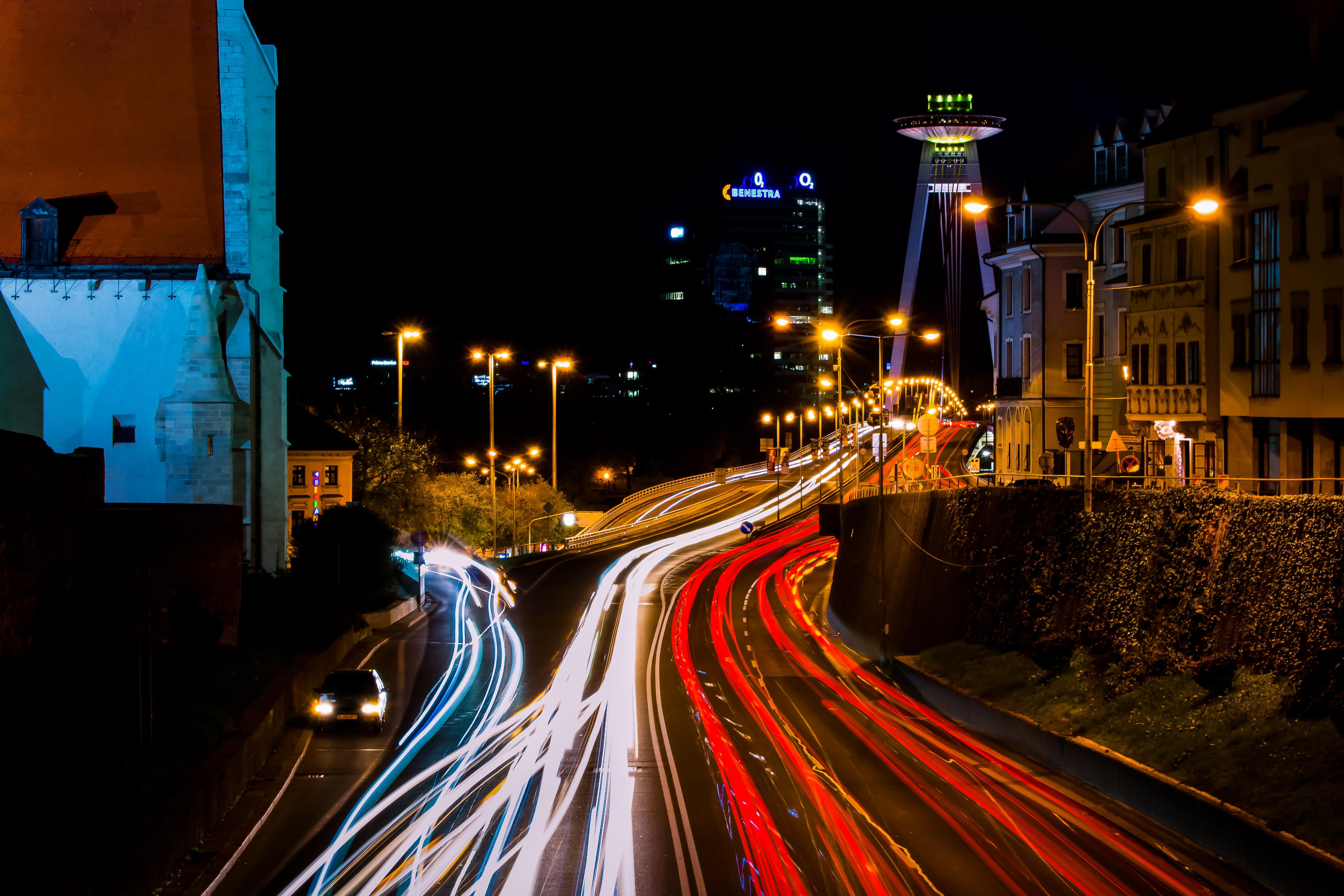 Timelapse Photo of City during Night, Blur, Light, Travel, Transportation system, HQ Photo